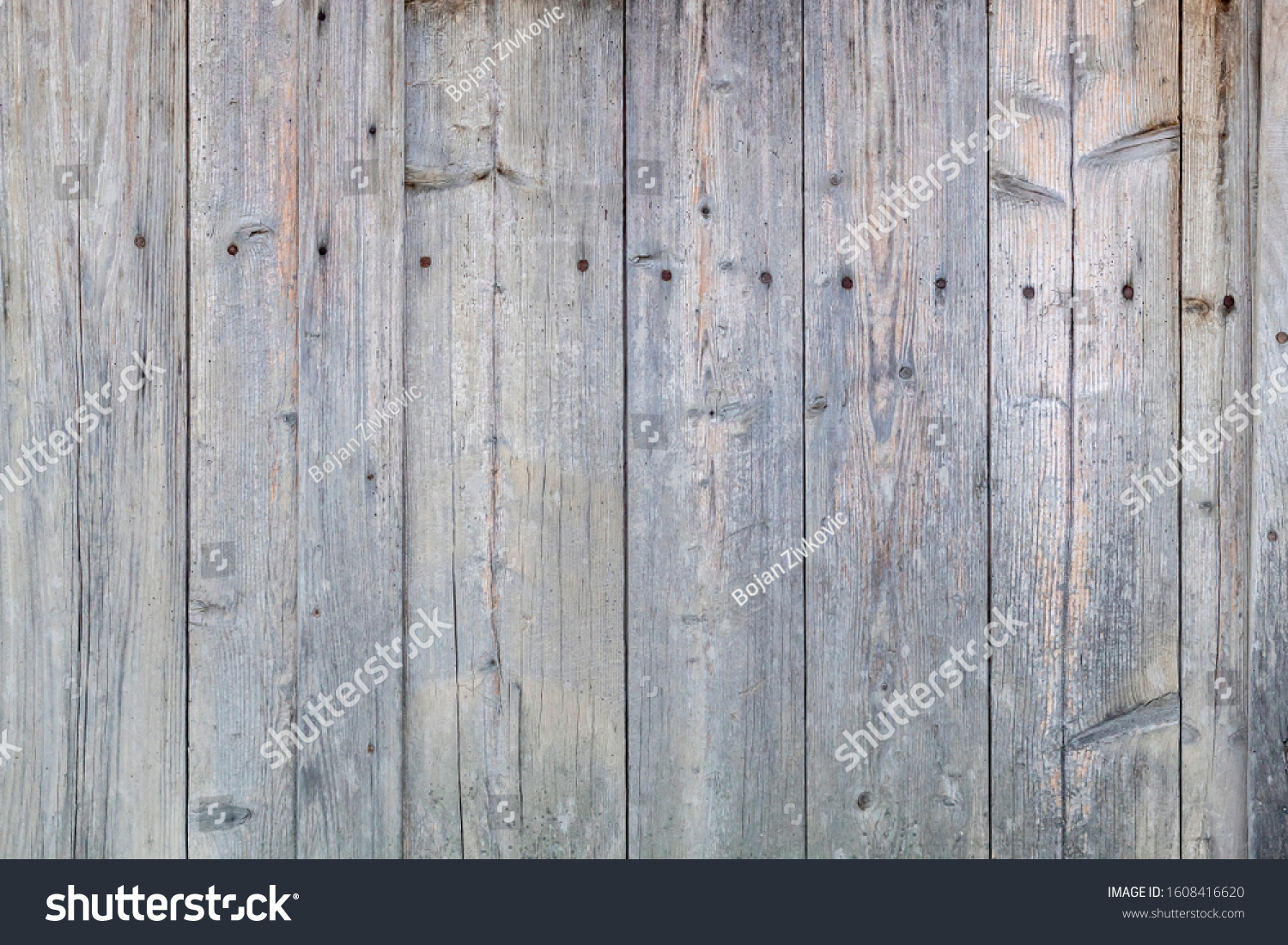 Old Weathered Grayish Wooden Planks #1608416620