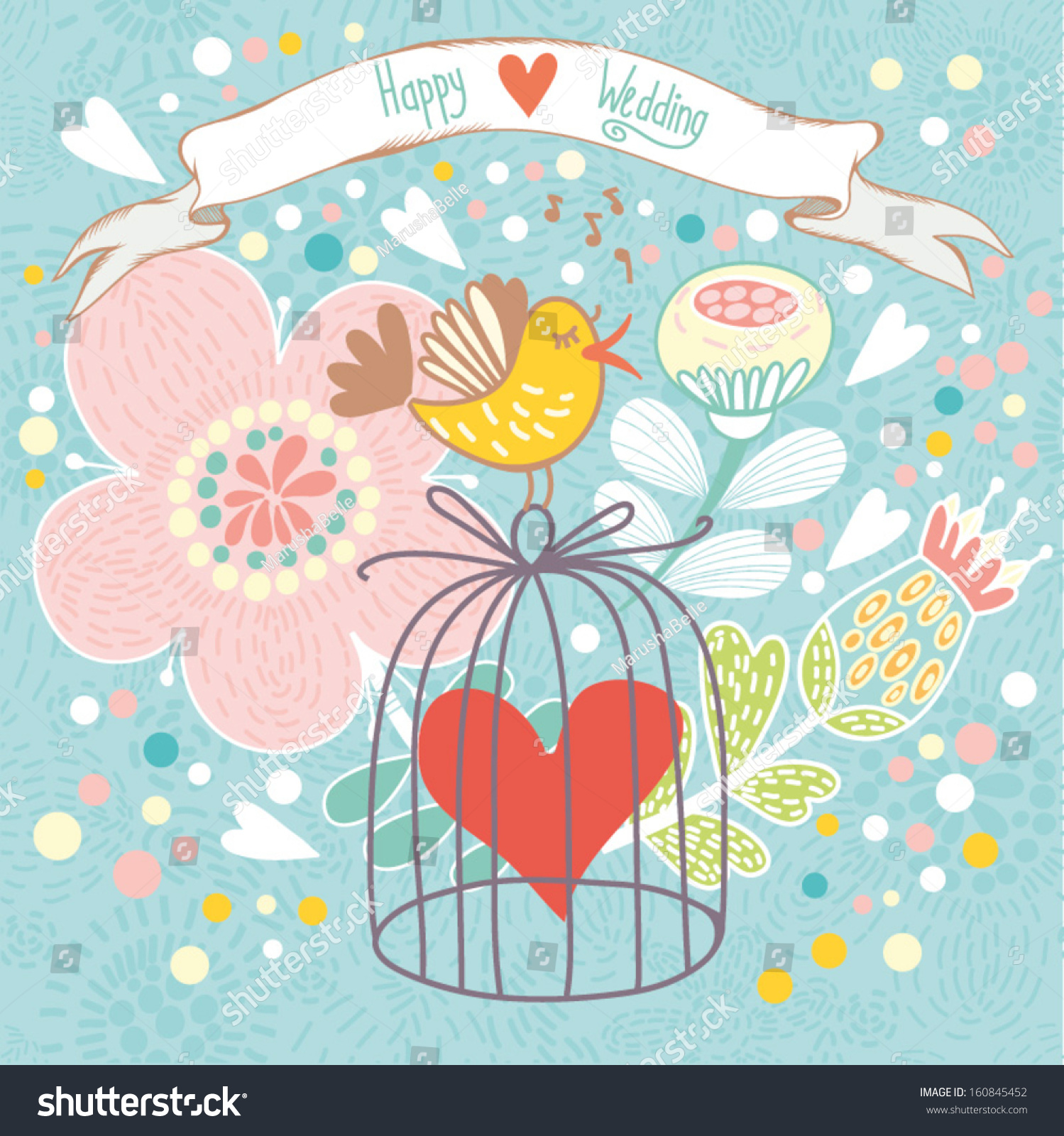 Romantic vector seamless background greeting card wallpaper vector art -  Vectors Illustrations Footage Music Abstract Romantic Card In Cute Colors Bright Background With Bird Cage Flowers