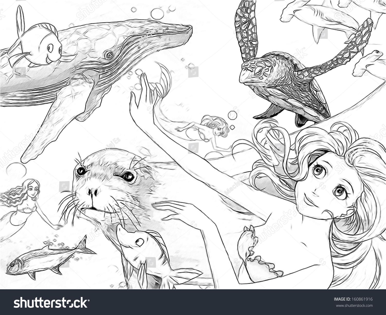 Ocean Mermaids Coloring Page Illustration Children Stock ...