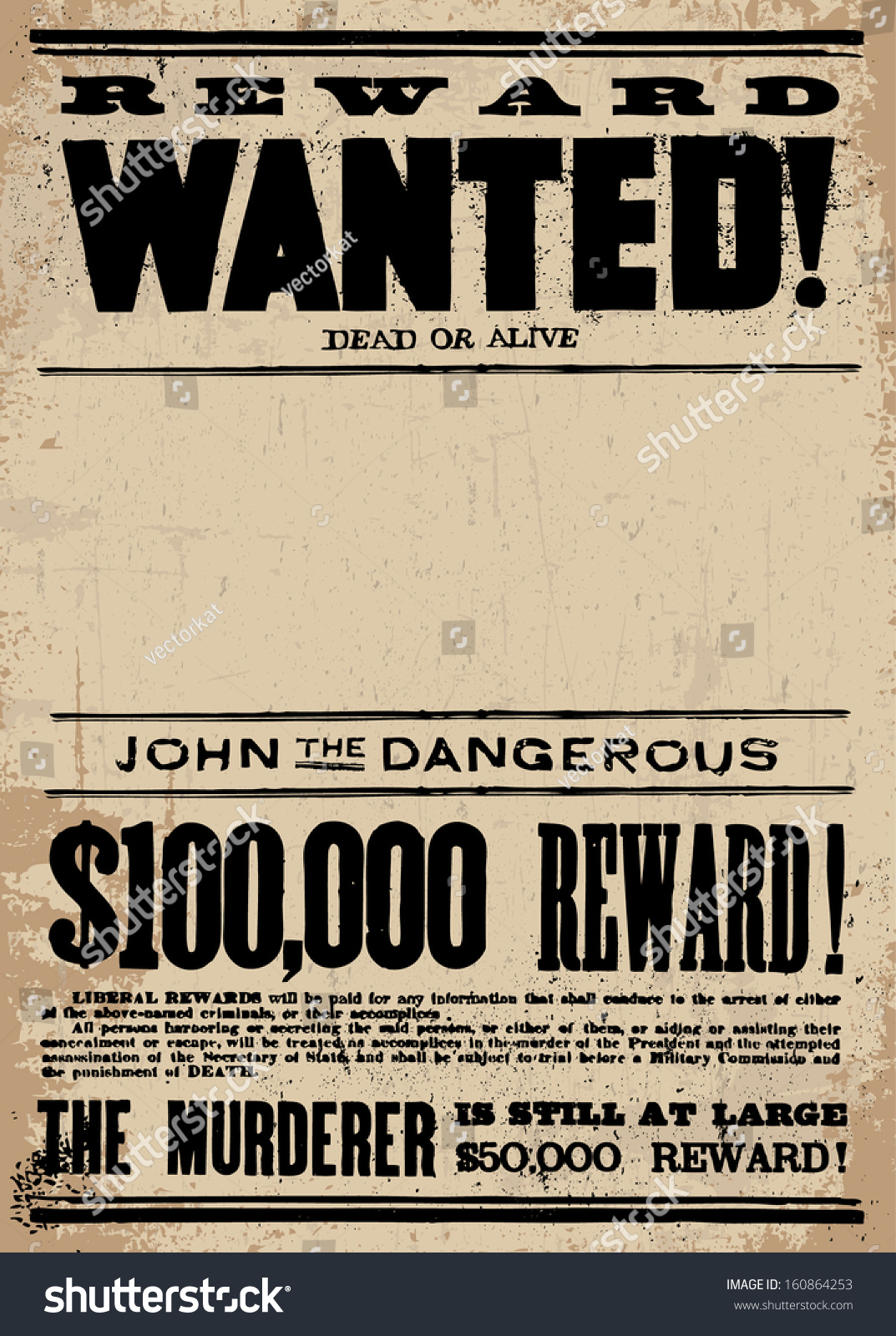Vector Vintage Wanted Poster Template All Vector 160864253 – Wanted Poster Template Download