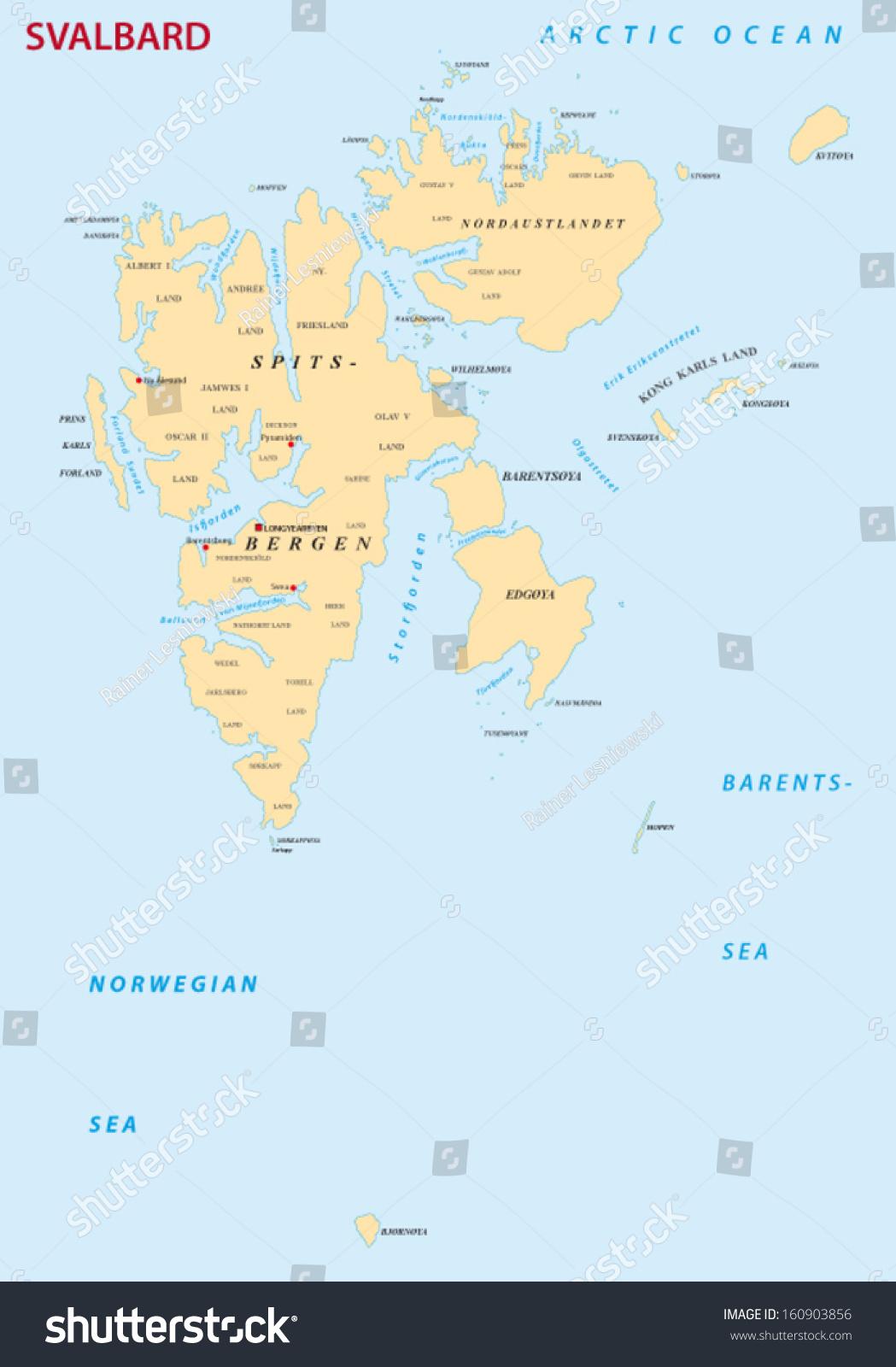 Svalbardspitsbergen Map Stock Vector 160903856 Shutterstock