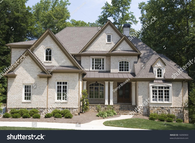 Tan Brick House Many Gables Roof Stock Photo 16090903