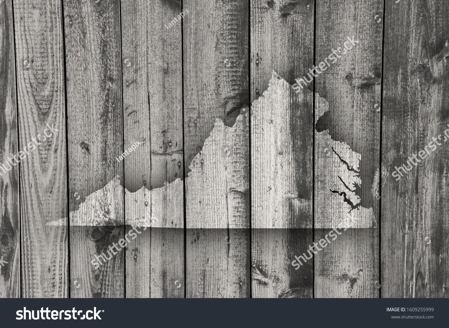 Detailed and colorful image of map of Virginia on weathered wood #1609255999