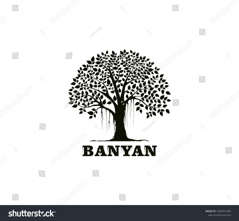 Banyan Tree Logo Design Template Tree Stock Vector Royalty Free 1609431589