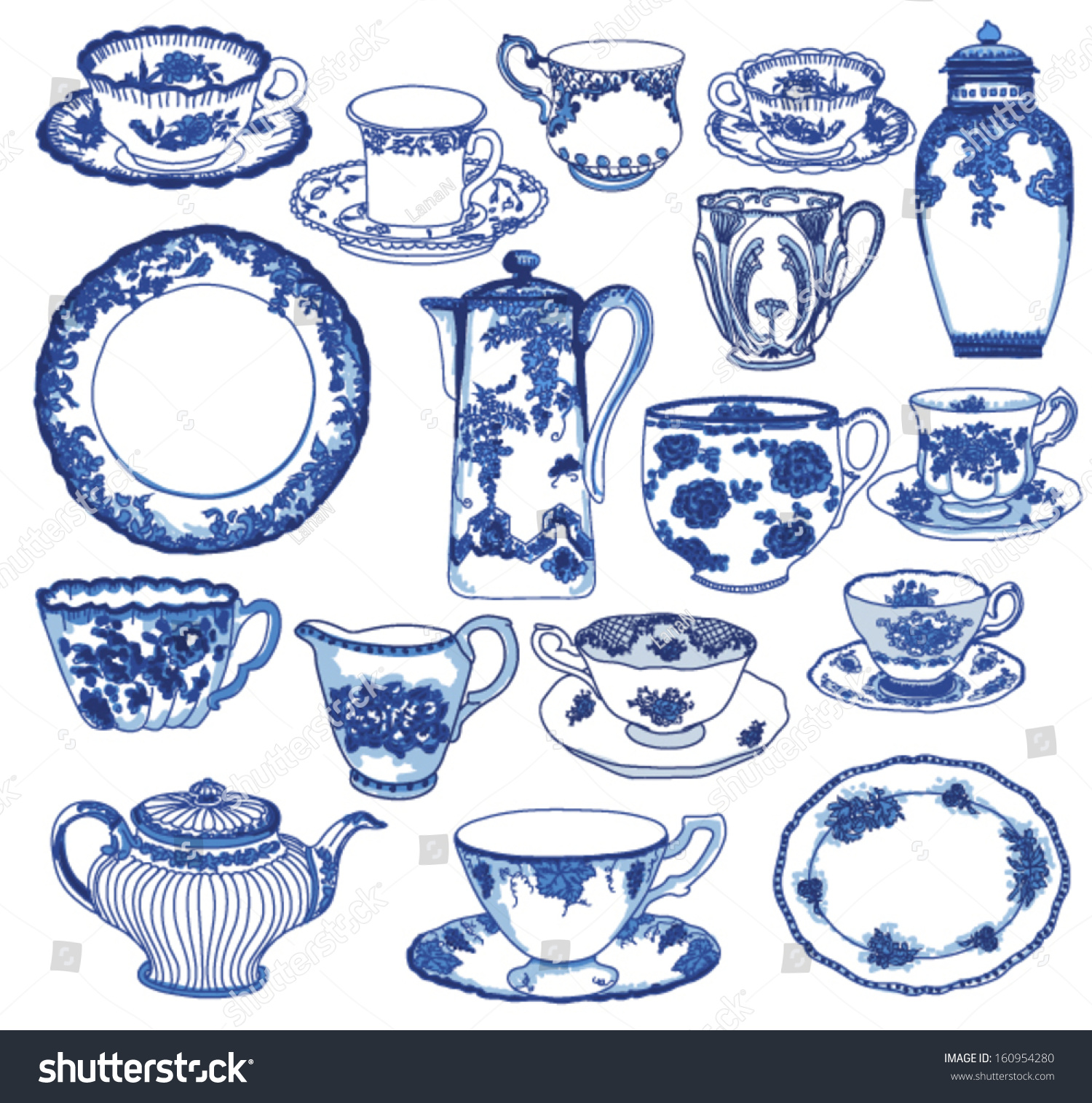 Fine China - Set of hand drawn porcelain teacups and saucers teapots plates  sc 1 st  Shutterstock & Fine China Set Hand Drawn Porcelain Stock Vector 160954280 ...