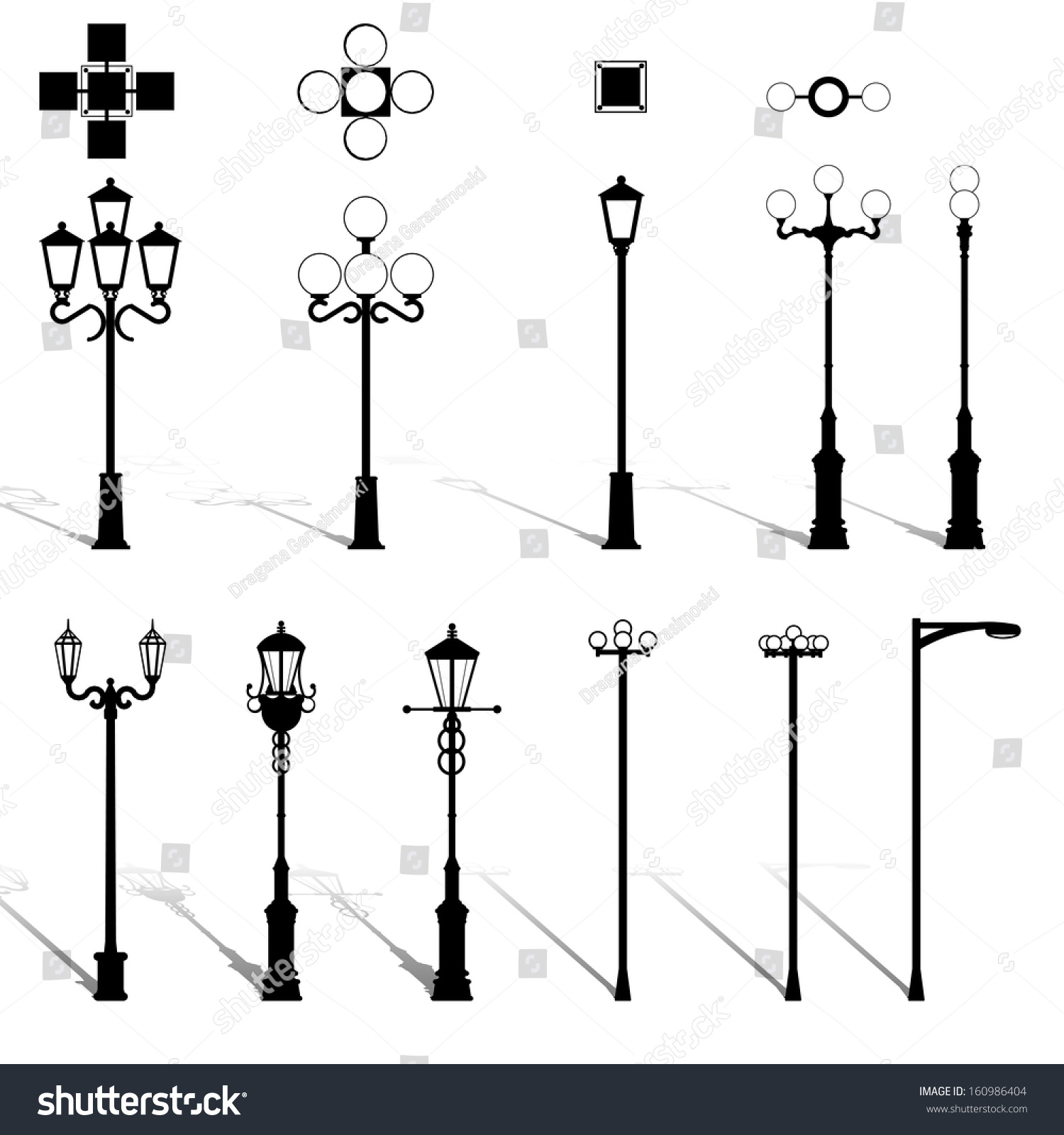 Light Pole Design: Modern Lightning Outdoor Lamp Pole Lamps Stock