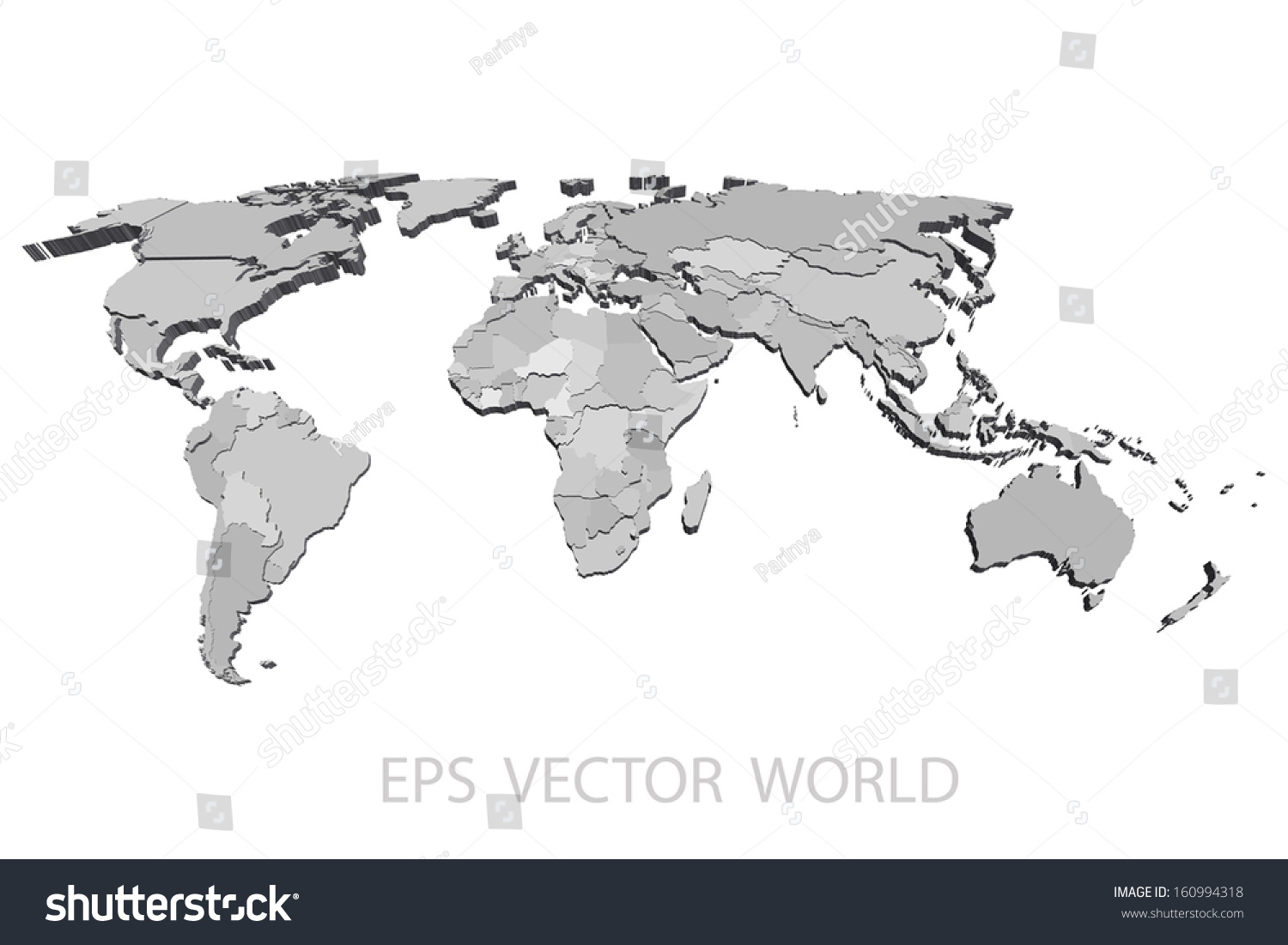 World map vector 3 d stock vector 160994318 shutterstock world map vector 3d gumiabroncs Image collections