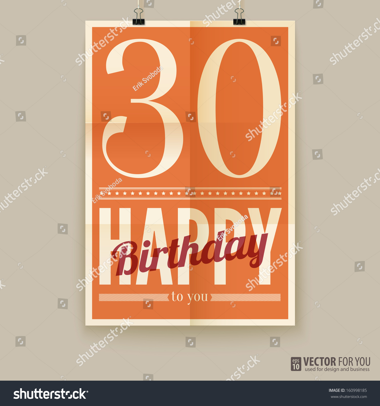 Happy Birthday Poster, Card, Thirty Years Old. Type Font