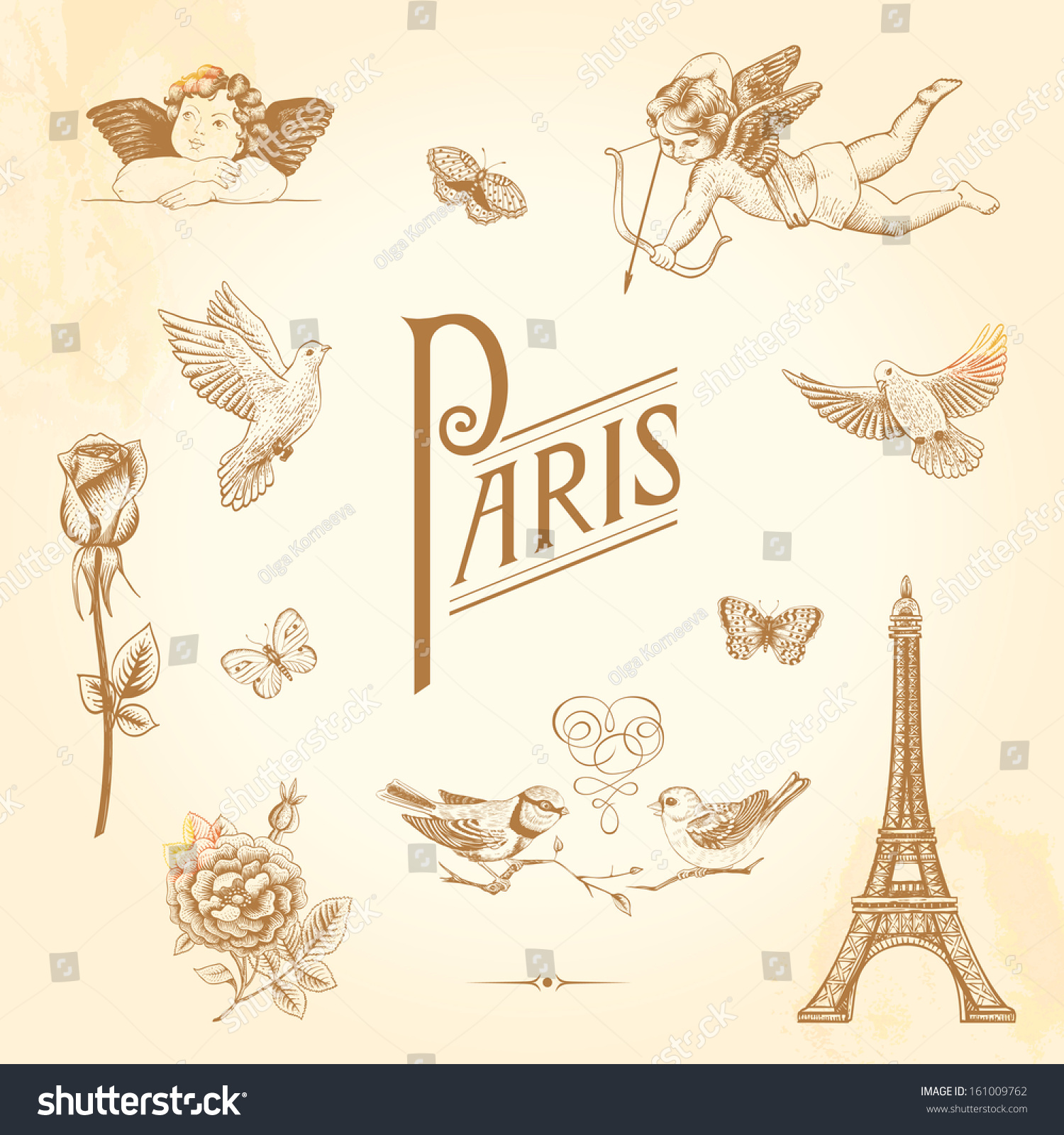 Set Vector Vintage Elements Design Paris Stock Vector