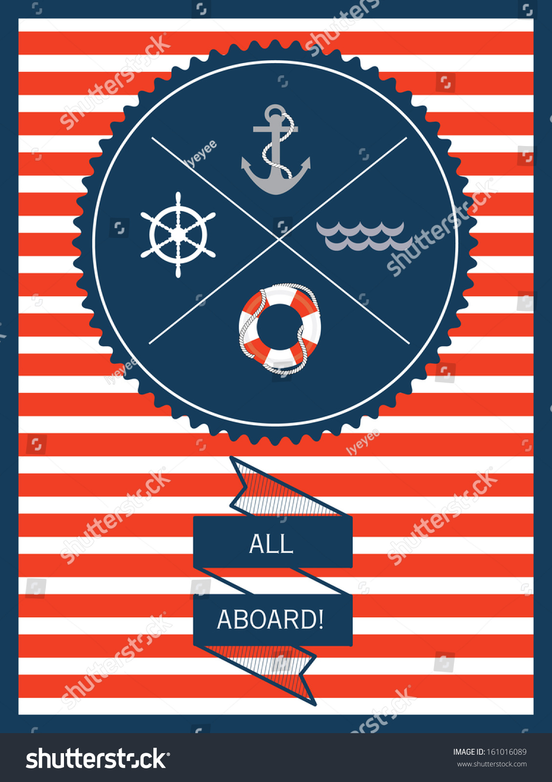 Nautical Invitation Card Template Vectorillustration Stock Vector ...