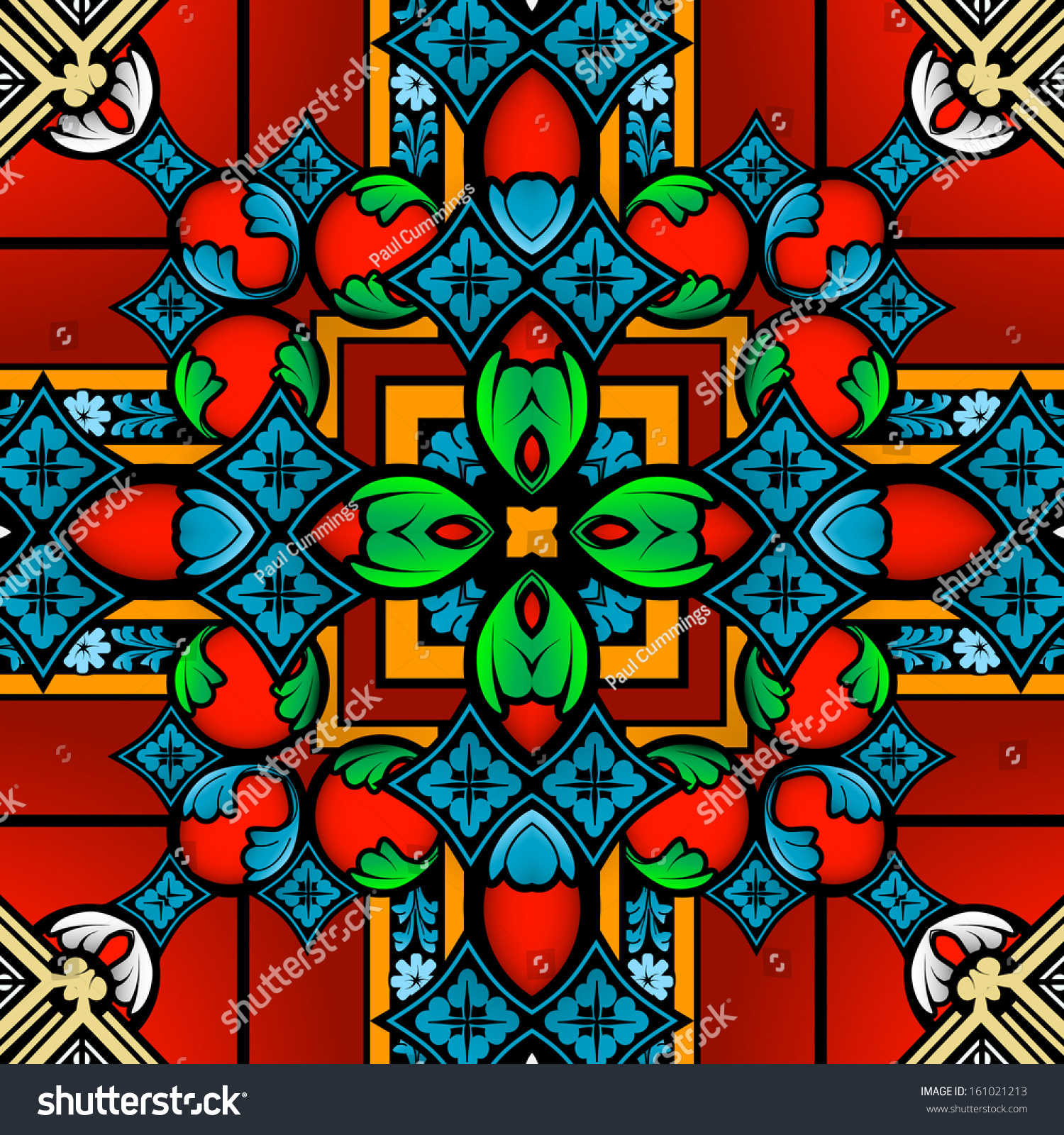 Seamless Multicolor Stained Glass Pattern Background Stock
