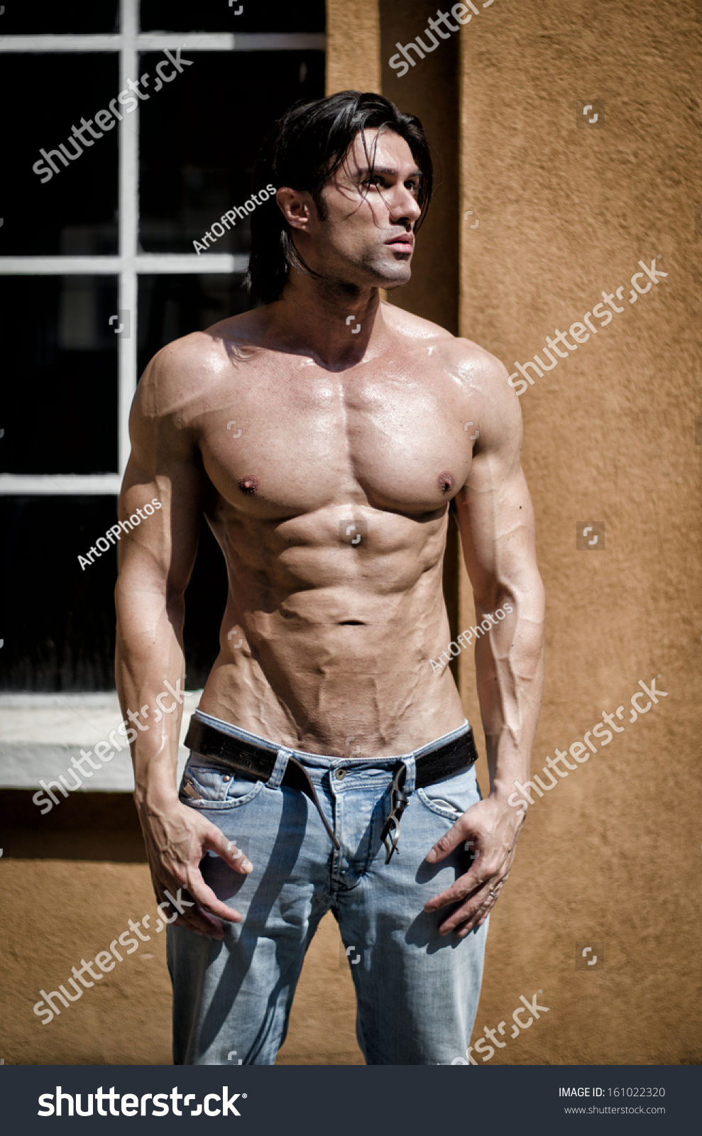 Handsome Young Muscle Man Naked Wearing Only Jeans And