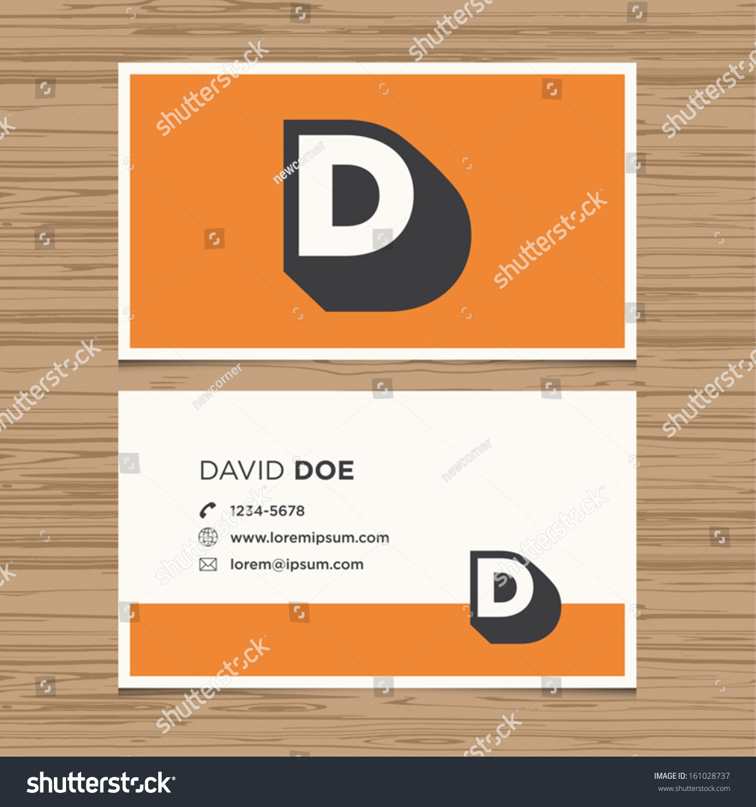 business card with alphabet letter d vector template