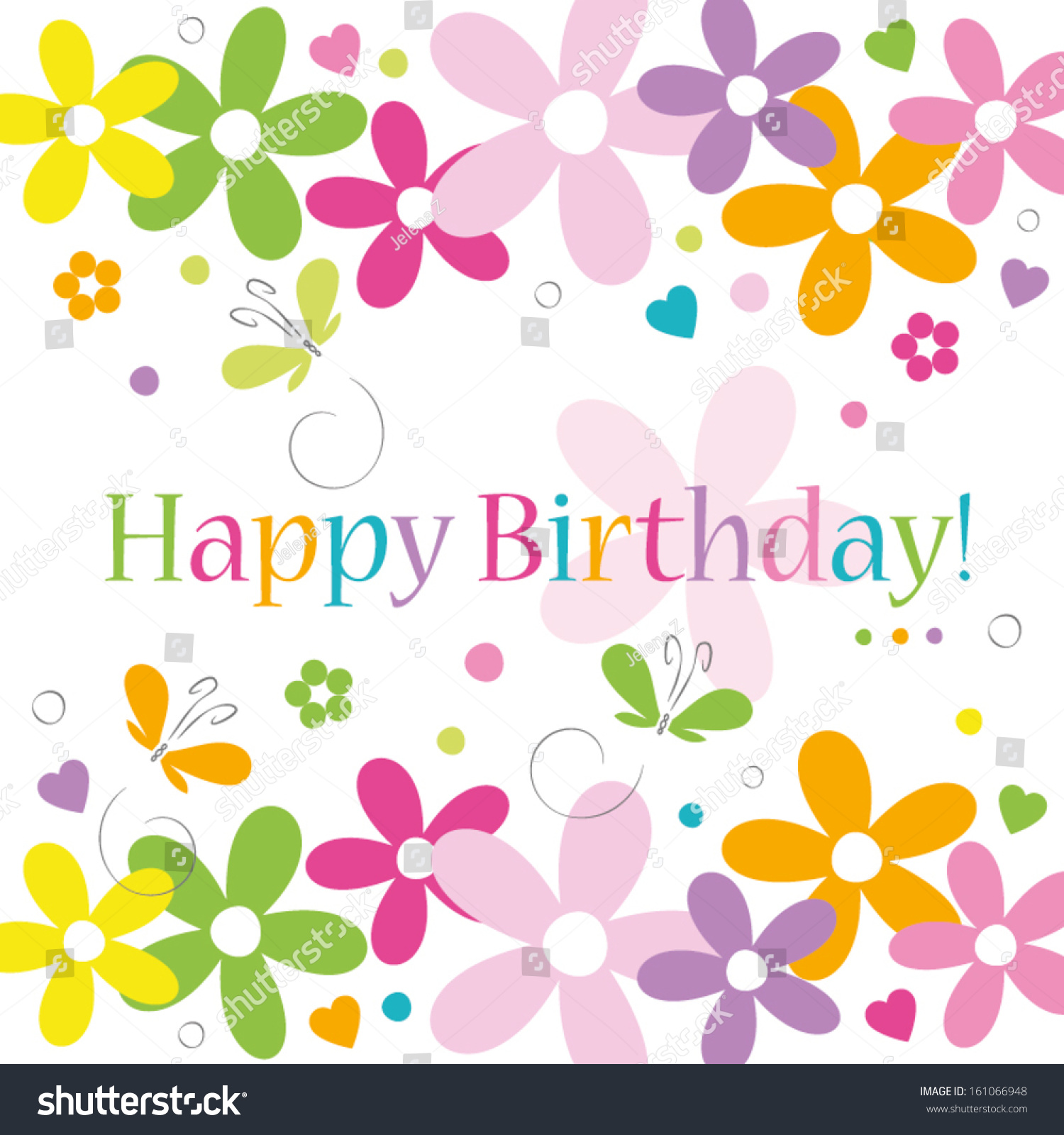 Hearts flowers butterflies happy birthday card stock vector 2018 hearts flowers and butterflies happy birthday card on white background izmirmasajfo