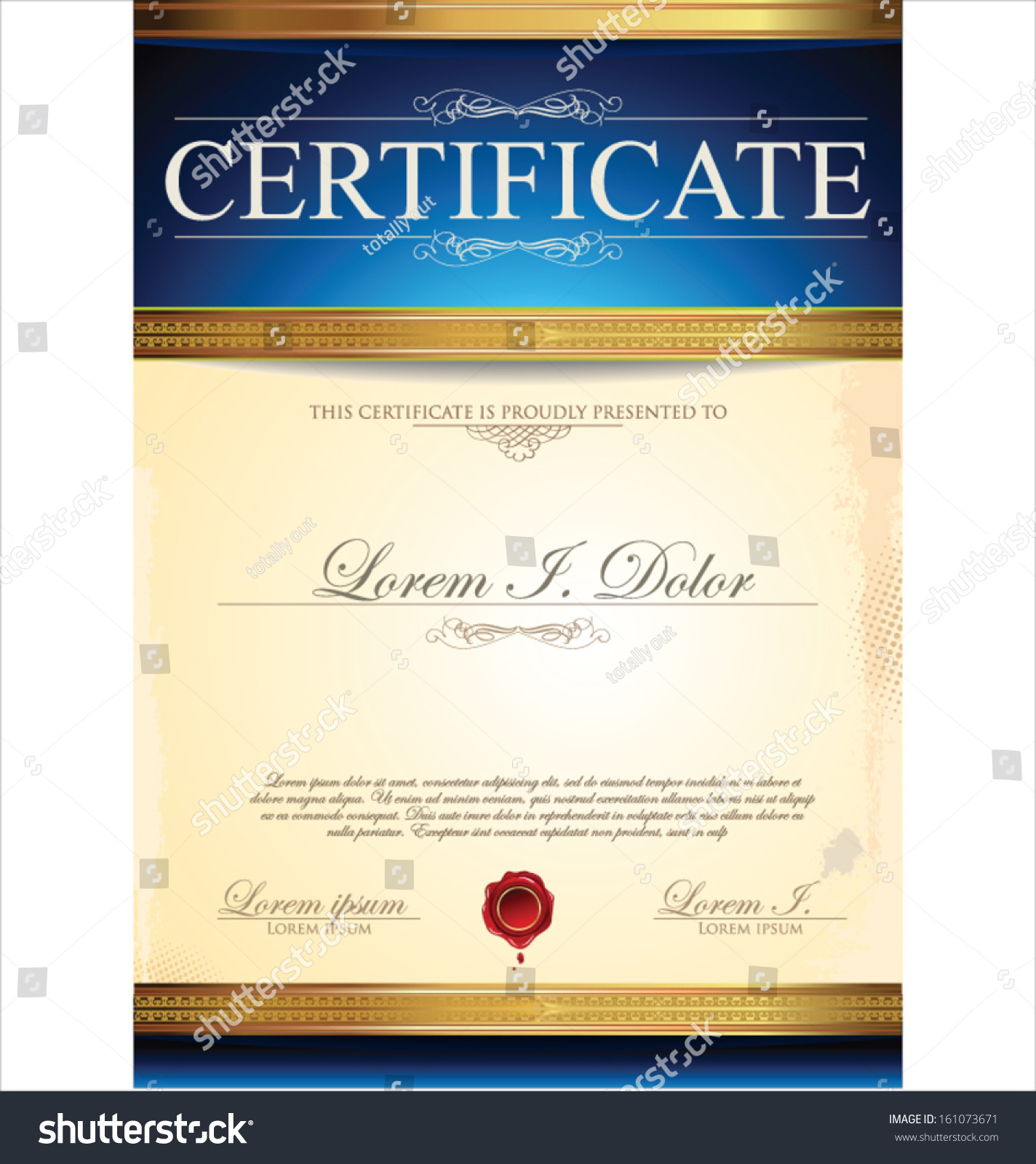 Blue certificate template stock vector 161073671 shutterstock blue certificate template xflitez Images