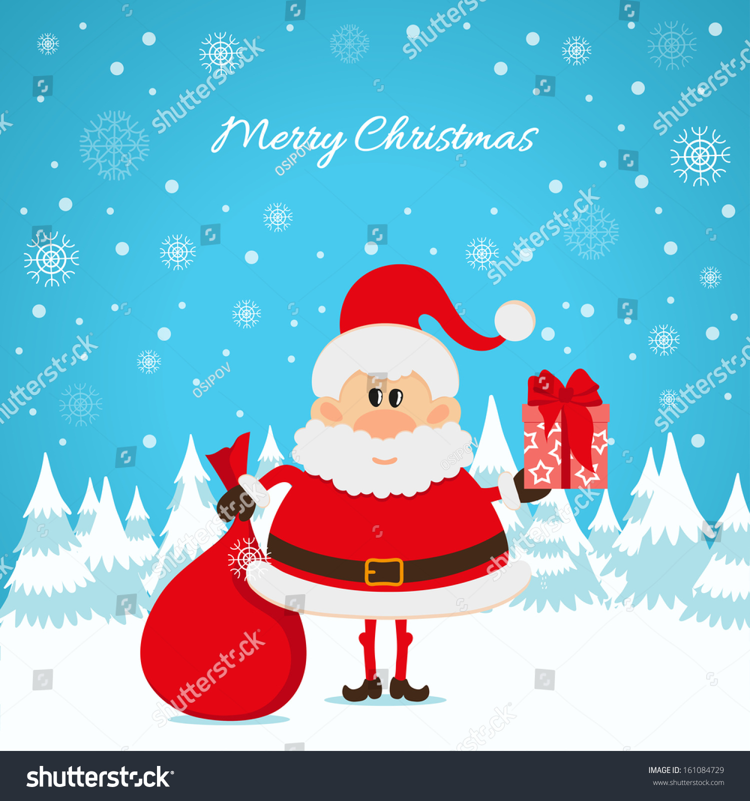 Santa Claus Red Bag Gifts Christmas Stock Illustration