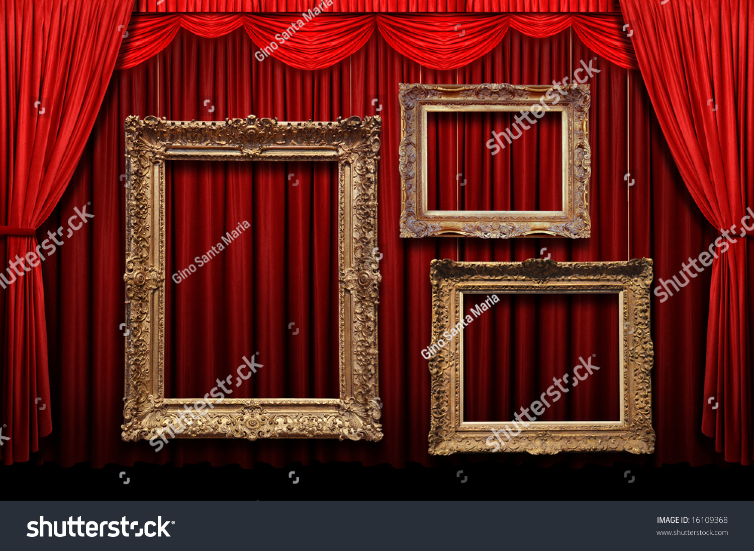 Red stage curtains - Red Stage Curtain With Gold Frames Preview Save To A Lightbox