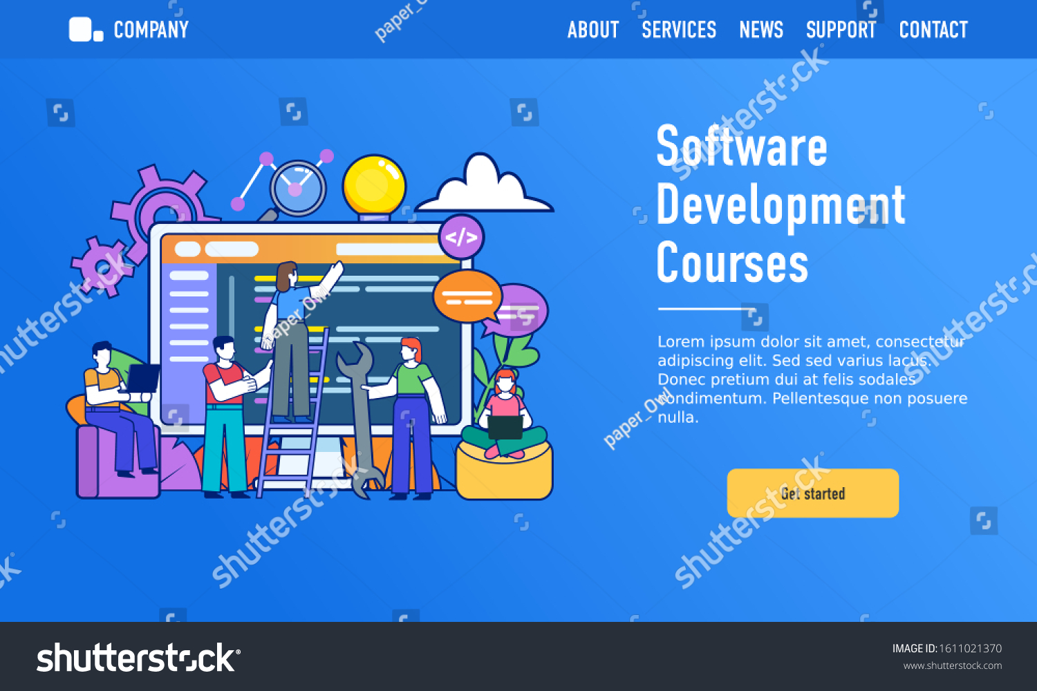 Online Software Development Coding Courses Small Stock Vector Royalty Free 1611021370