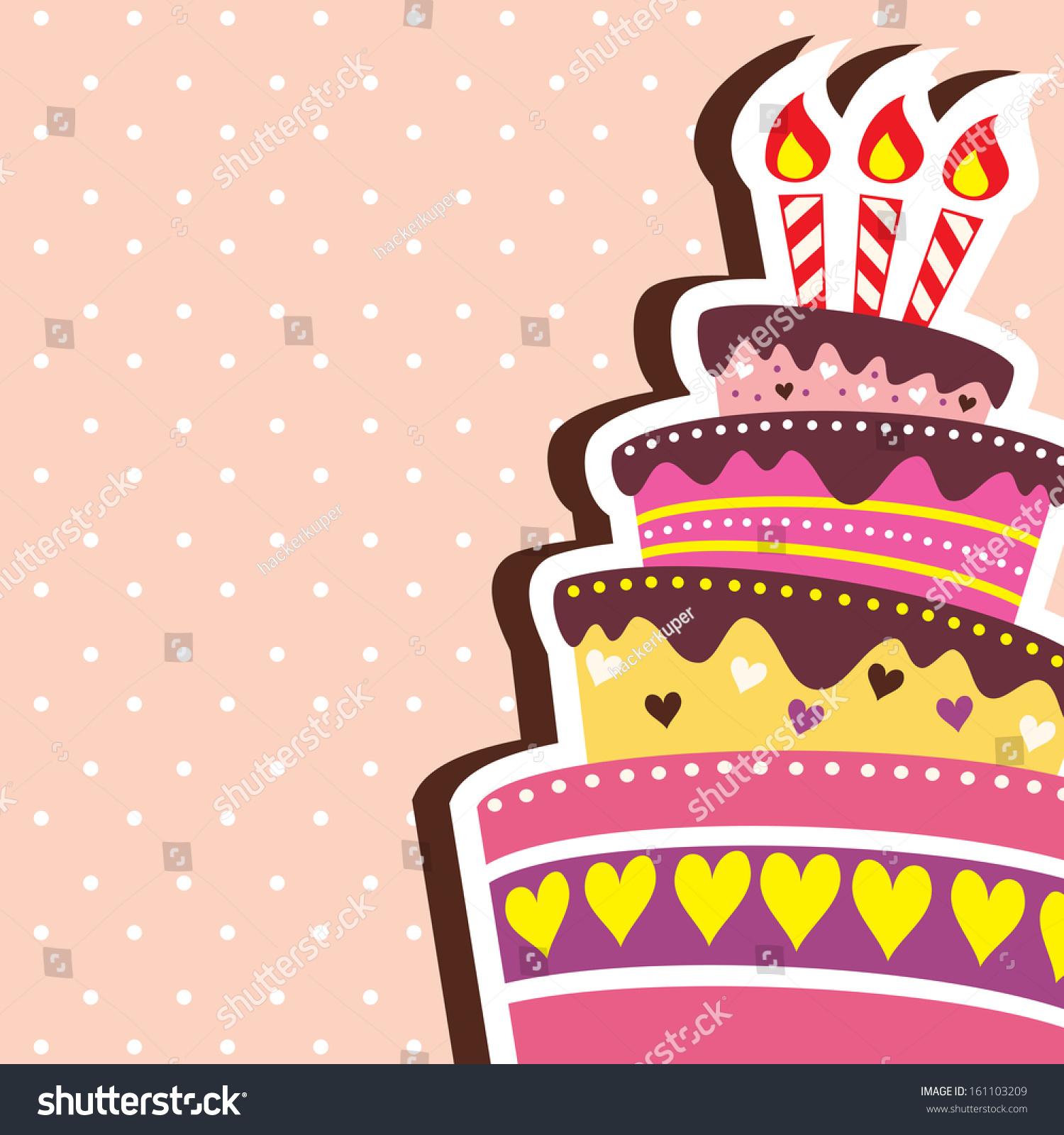 Colorful Layered Happy Birthday Cake Background Stock Illustration