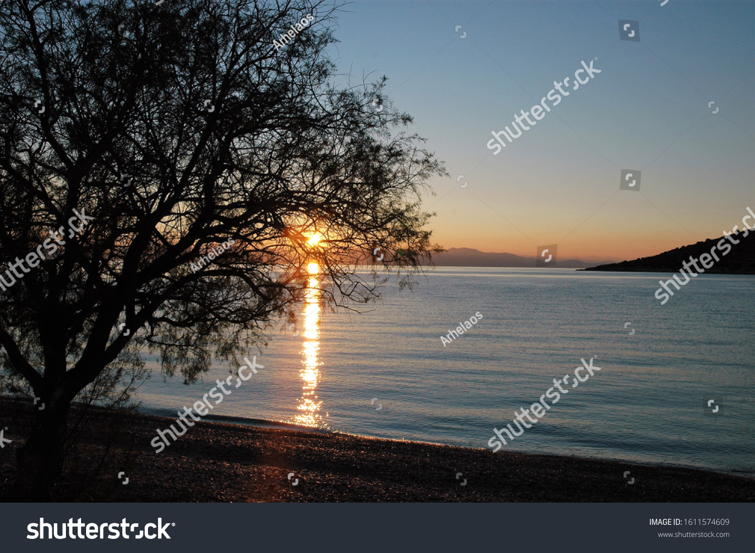 Sunset at Kanakia beach,Salamina island in the winter.This is an unknown and non touristy beach 1 hour from athens.