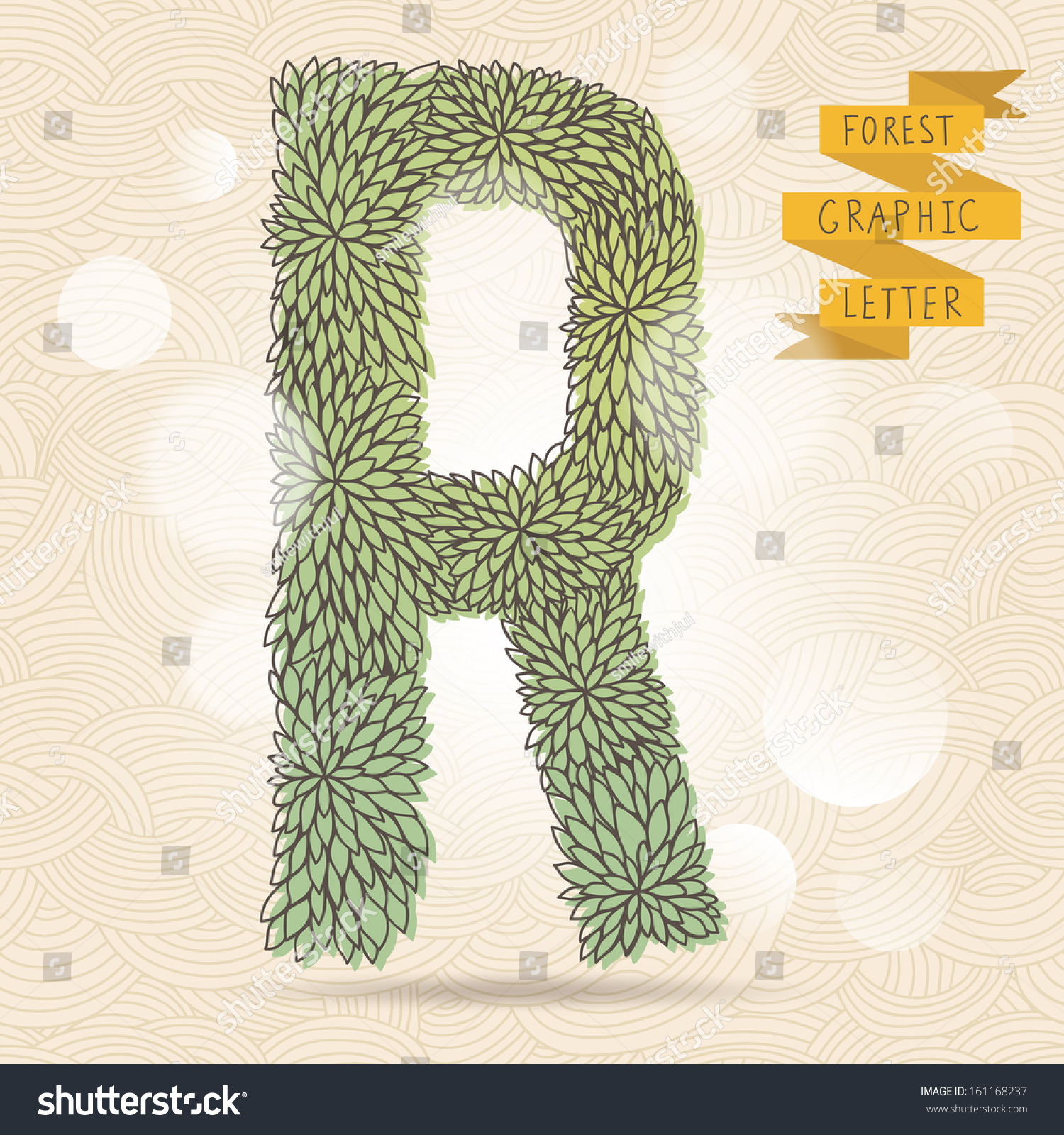 The letter R  Bright floral element of stylish alphabet made leafs  Summer  floral ABC. Letter R Bright Floral Element Stylish Stock Vector 161168237