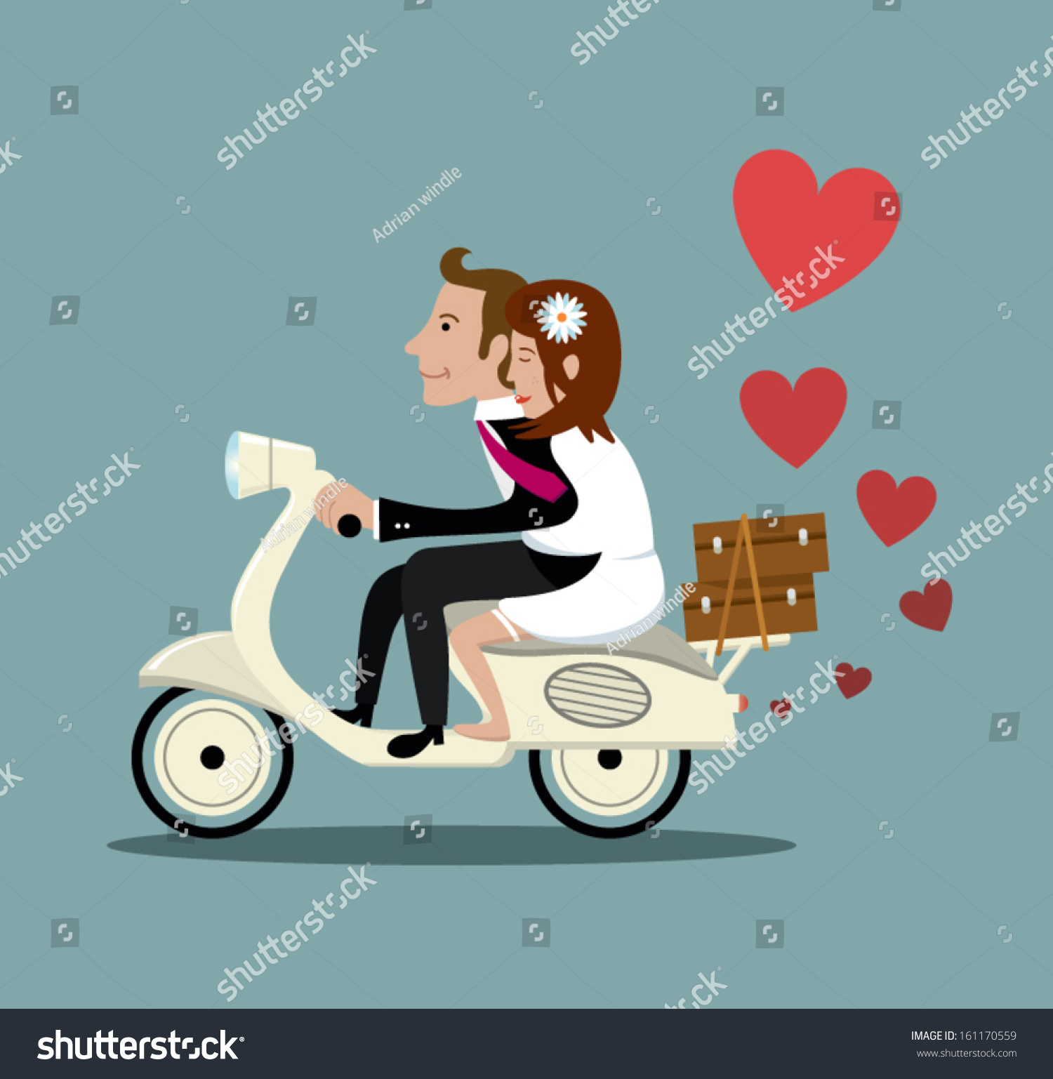 Happy Married Couple On A Moped Stock Vector Illustration
