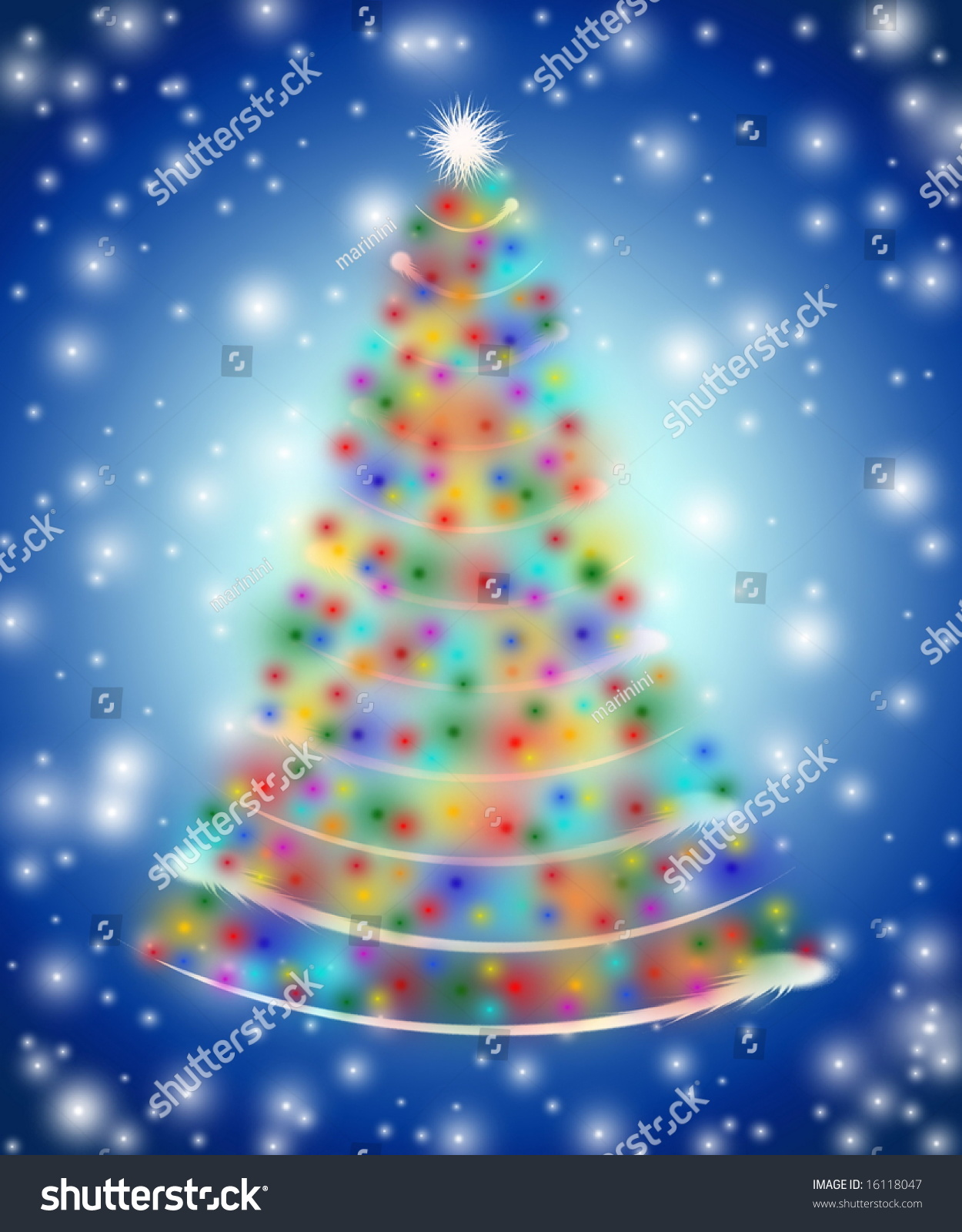christmas tree drawn by white red yellow orange pink violet - White Christmas Tree Blue Lights