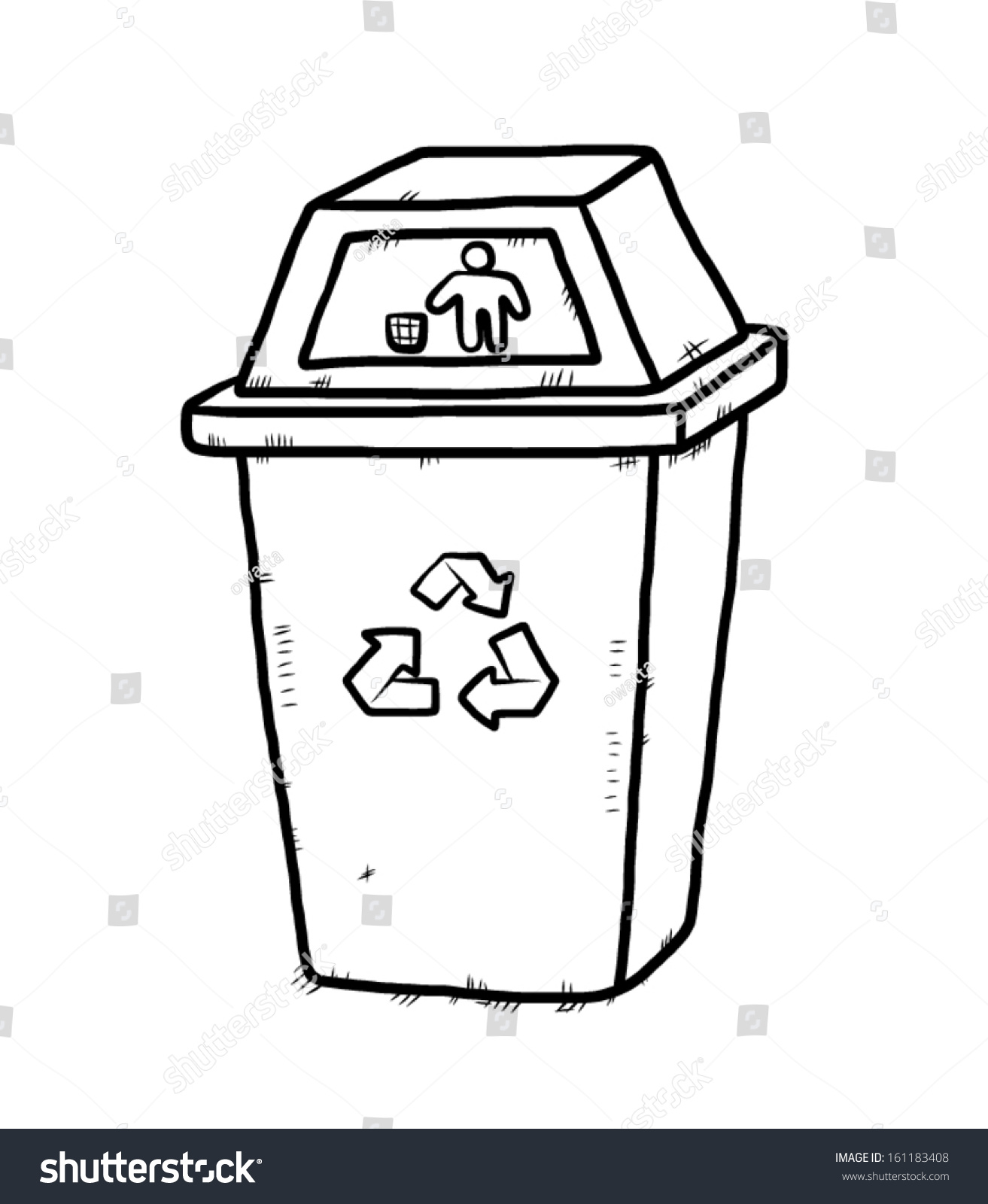 Recycle bin cartoon vector illustration hand stock vector for Simple art from waste