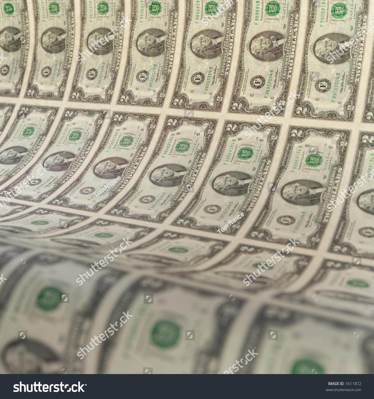 Uncut Sheet Two Dollar Bills Stock Photo (Edit Now) 1611872