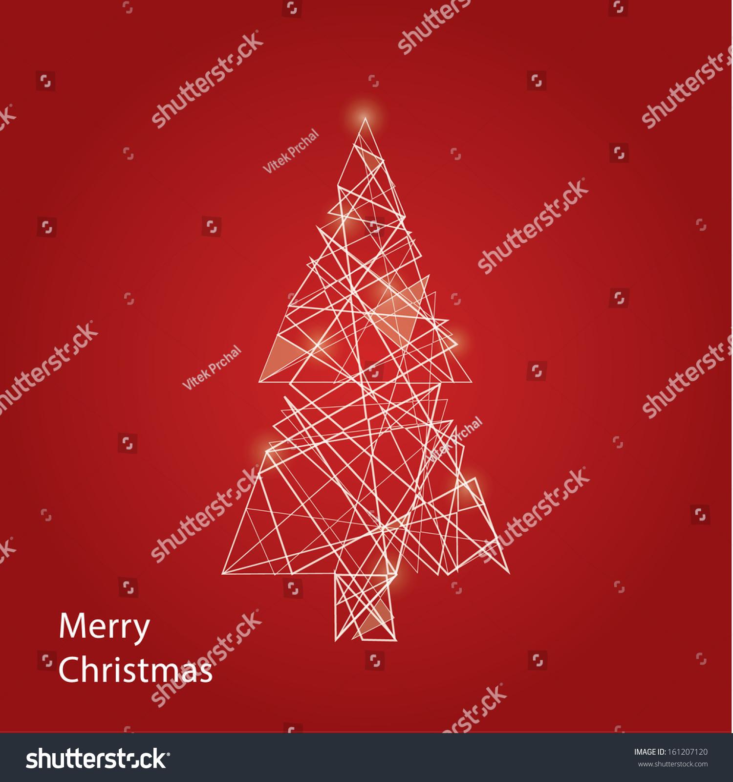 vector outline christmas tree futuristic christmas stock vector