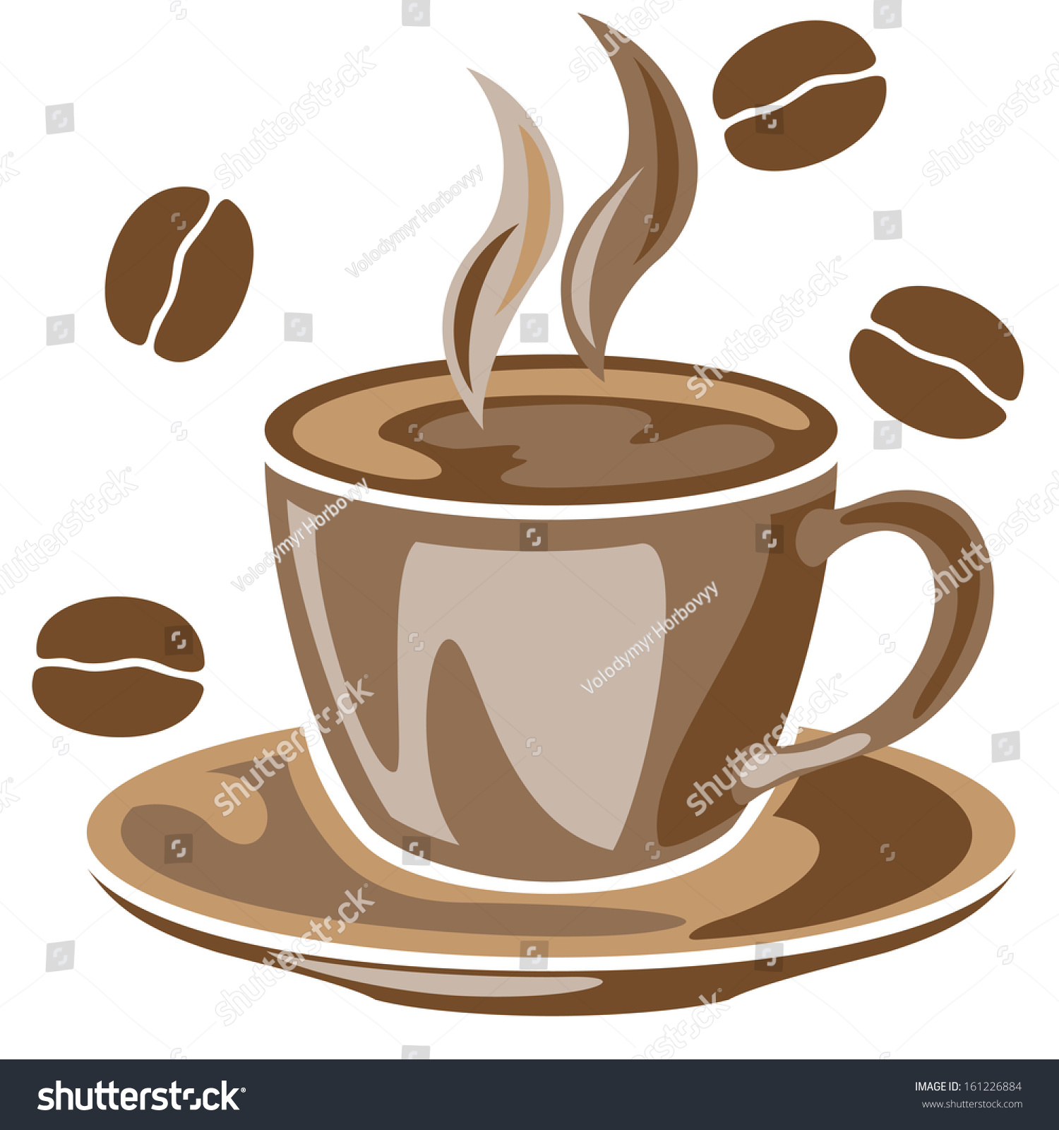 A steaming cup of coffee and coffee beans drawing stock for How to draw a coffee bean
