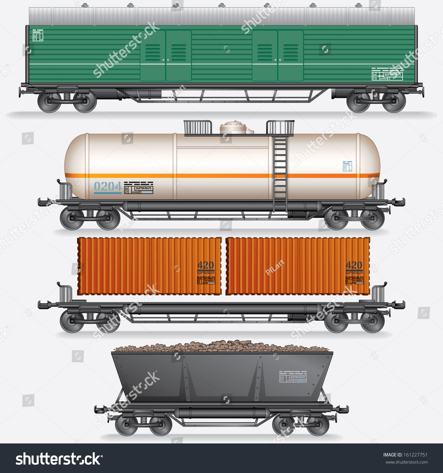 Various Modern Freight Cars Vector Illustration Stock