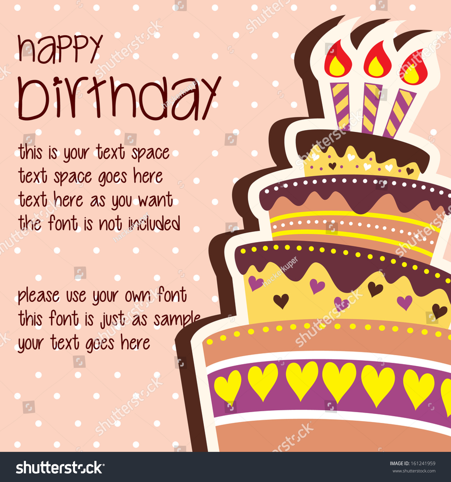 Happy Birthday Card Template Large Layered Vector 161241959 – Birthday Card Sample