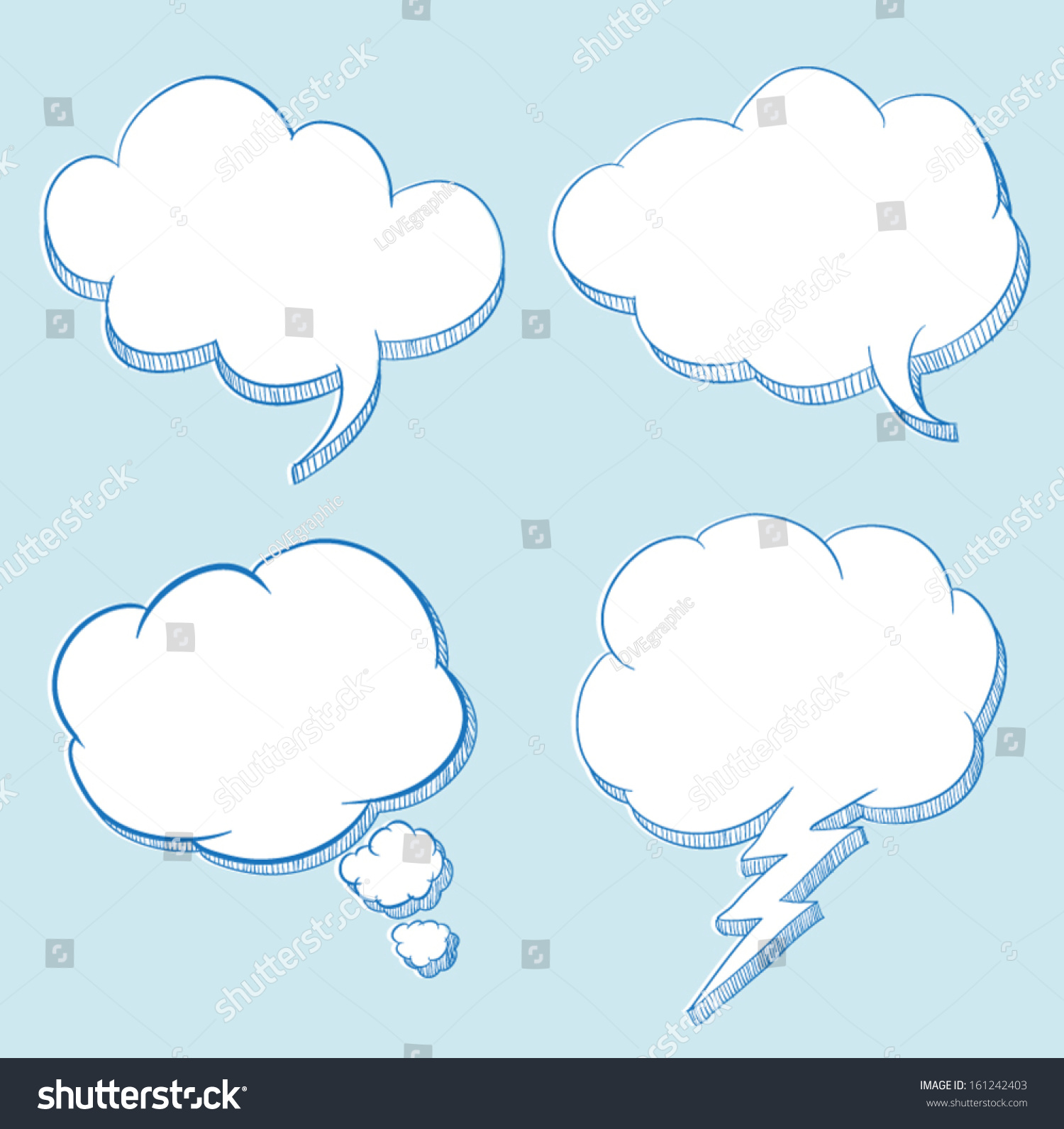 cloud speech hand drawing illustration can use for frame text promotion 161242403 shutterstock