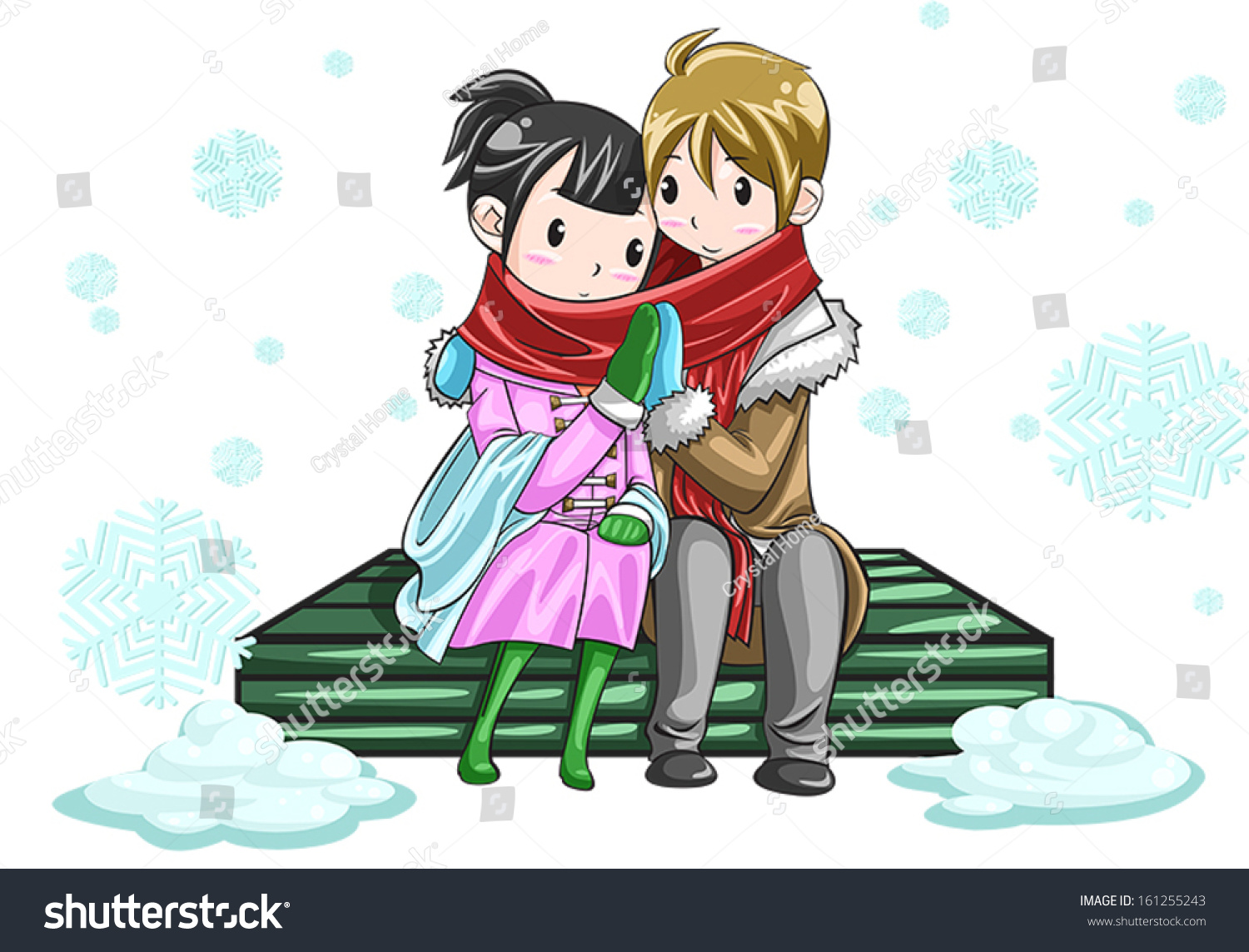 Cute teenage lover couple boyfriend girlfriend sharing their warmth love by hands in white snowy isolated
