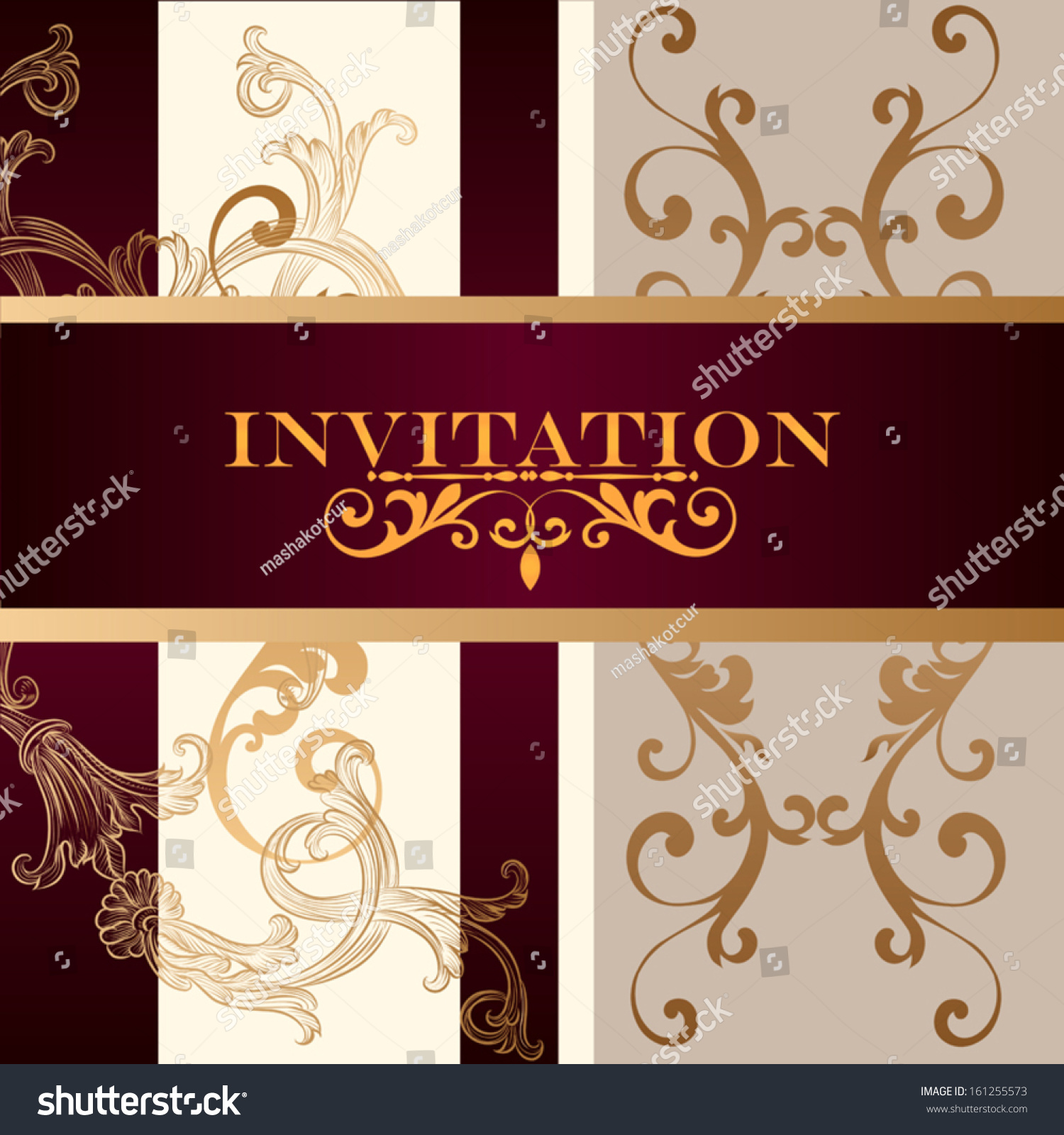 Elegant Classic Wedding Invitation Menu Retro Stock Vector (Royalty ...