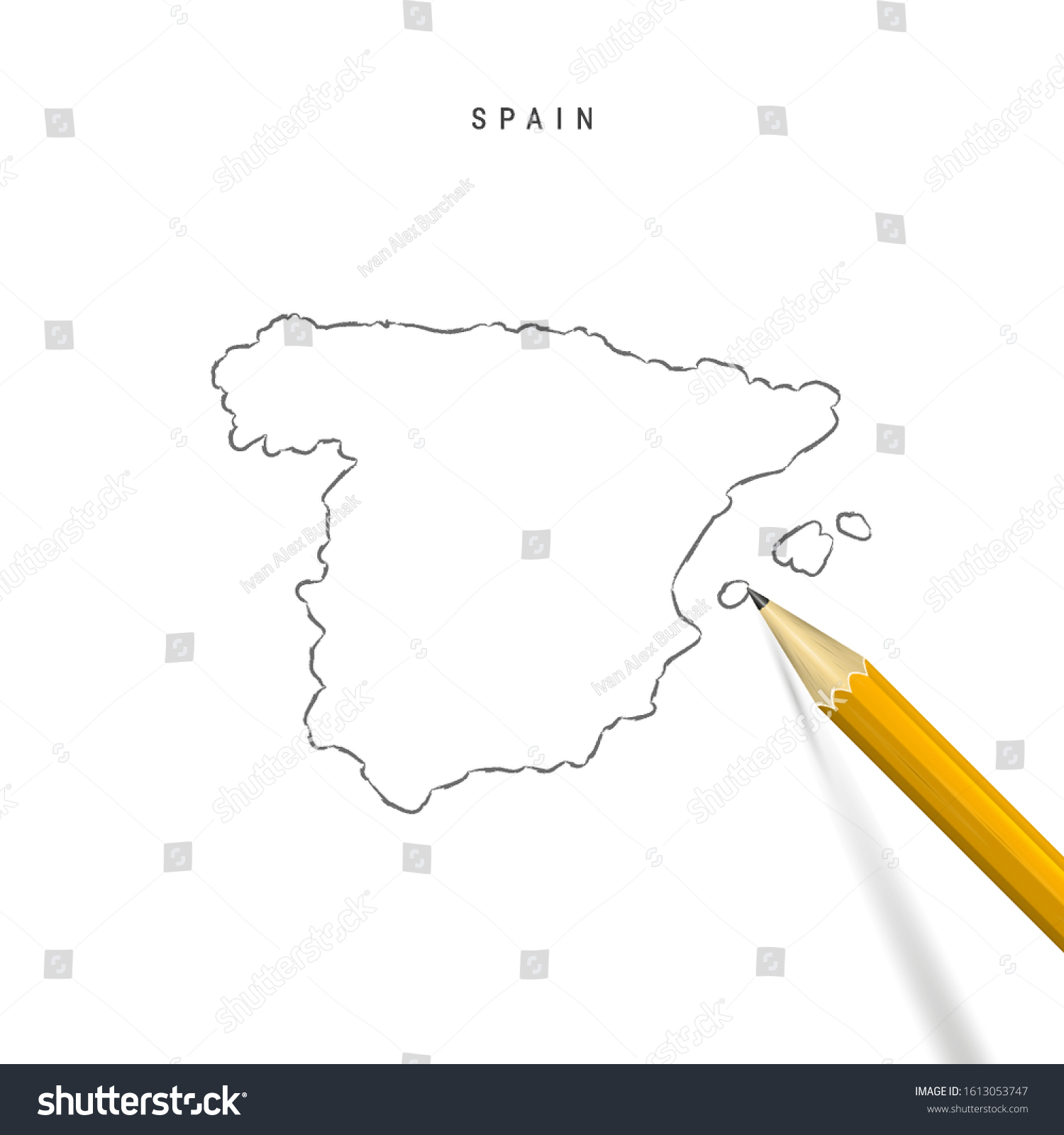 Picture of: Spain Sketch Outline Map Isolated On Stock Vector Royalty Free 1613053747