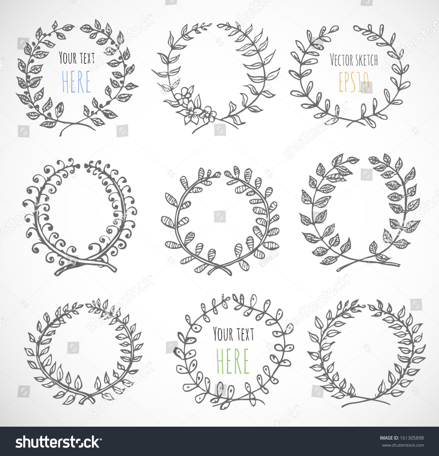 Circle Floral Borders Sketch Frames Handdrawn Stock Vector 161305898 - Shutterstock
