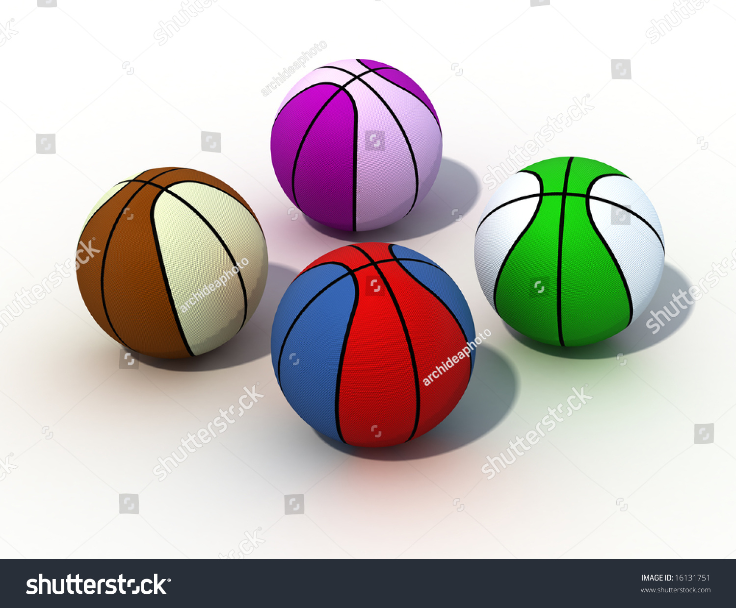 colored basketball isolated on white background digital