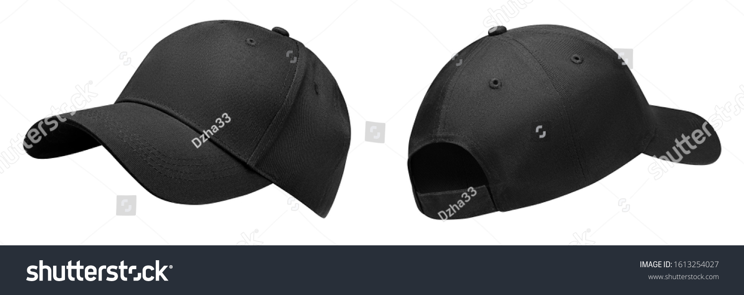 Black baseball cap in angles view front and back. Mockup baseball cap for your design #1613254027