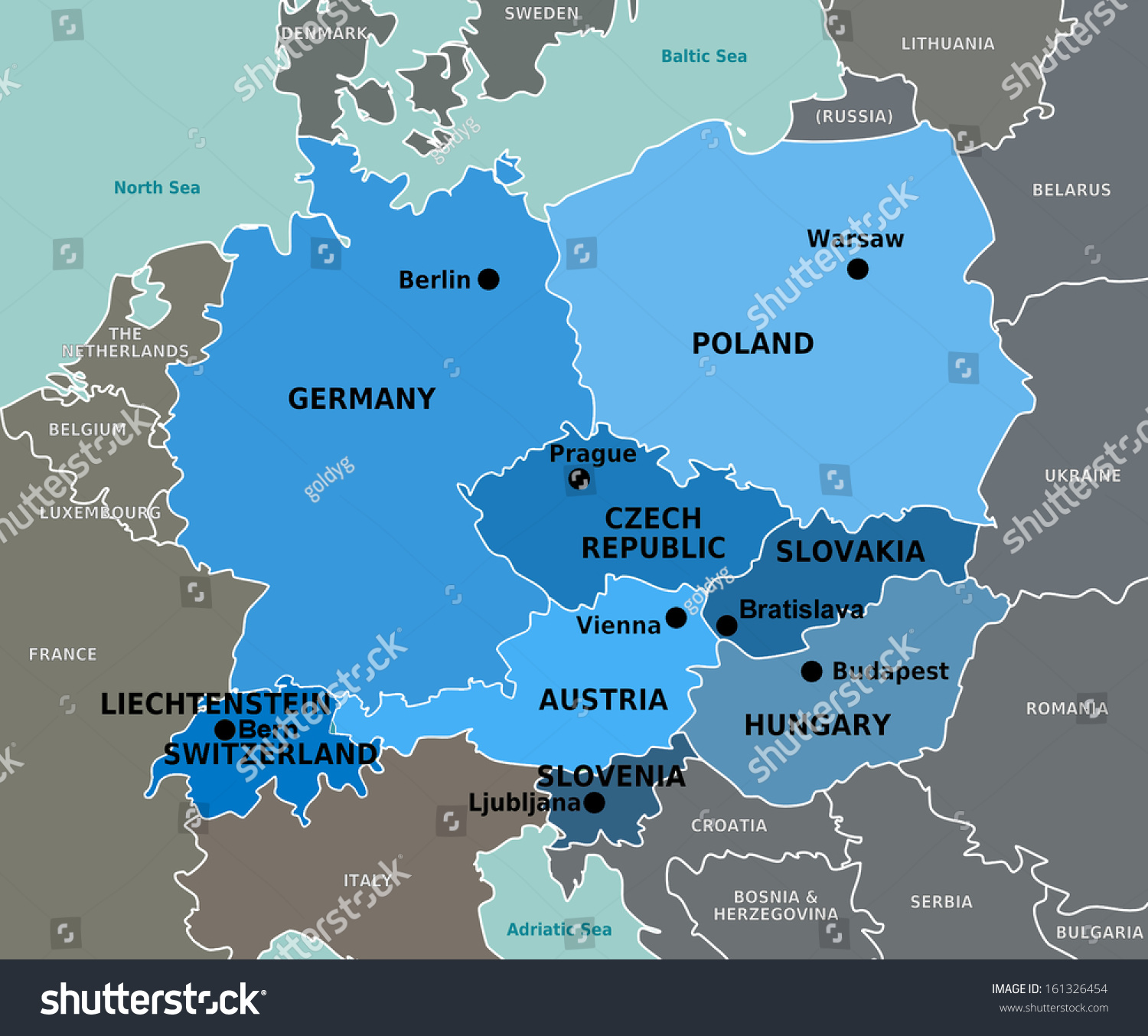 Countries Central Europe Map Stock Illustration 161326454 Shutterstock