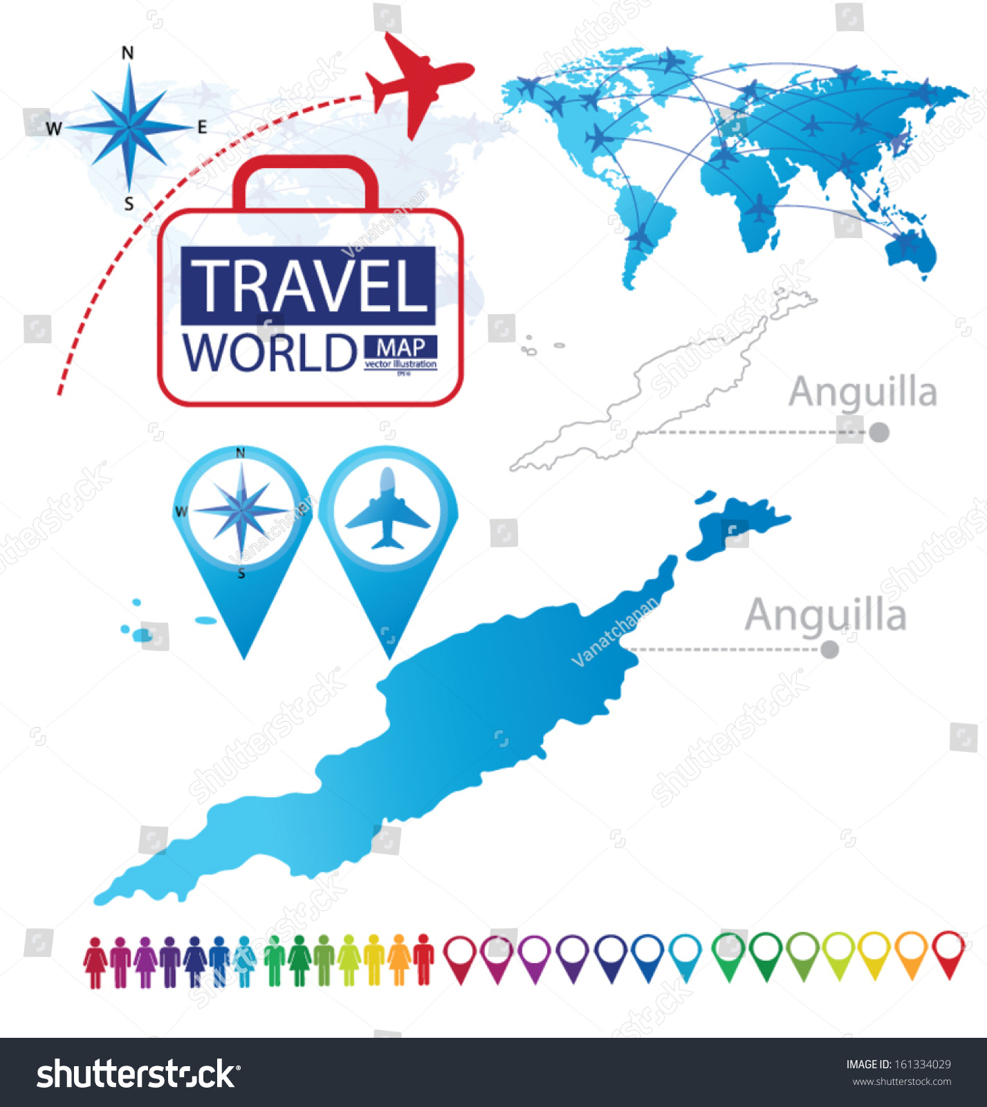 Anguilla World Map Travel Vector Illustration Stock Vector