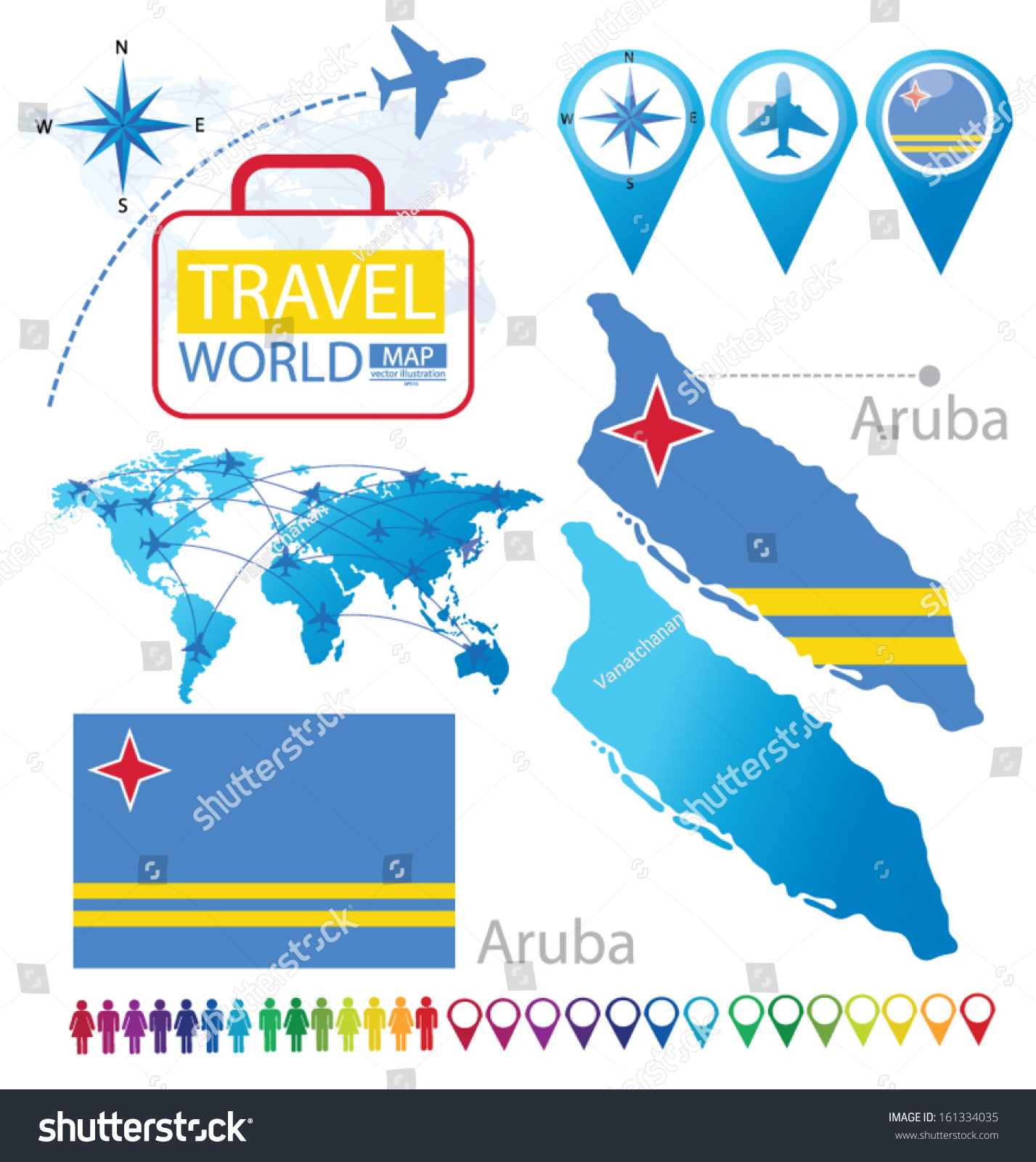 Picture of: Aruba Flag World Map Travel Vector Stock Vector Royalty Free 161334035