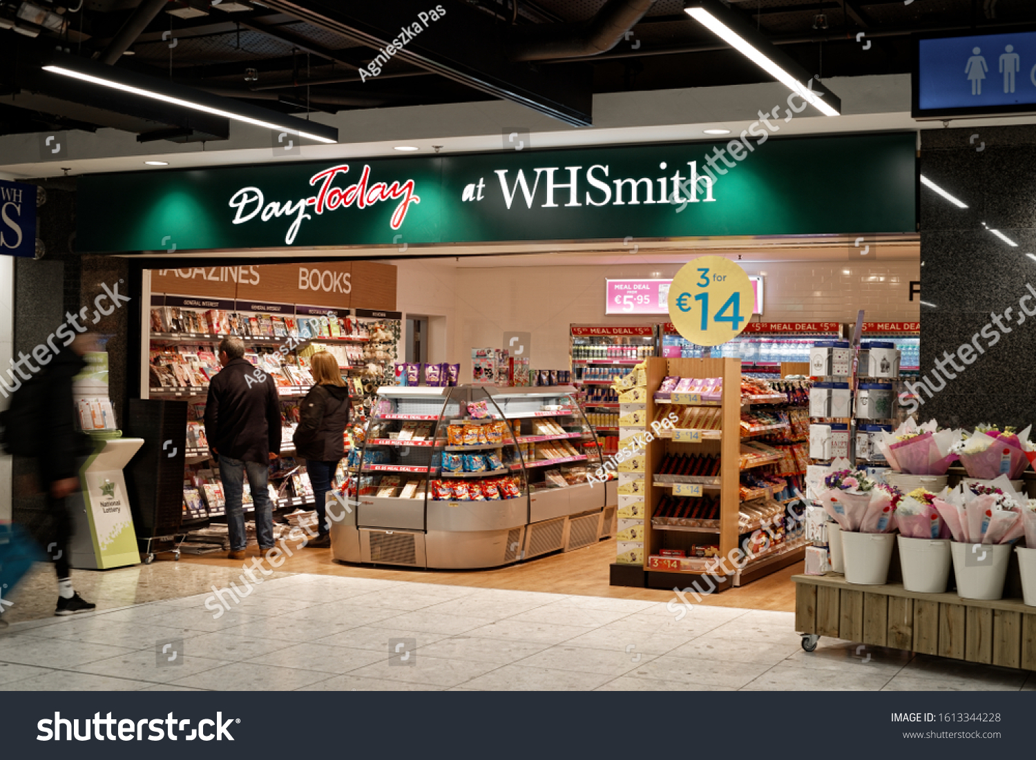 DUBLIN, IRELAND - JANUARY 11, 2020: WHSmith store in Dublin Airport, Terminal 1. Store's interior. View from outside.