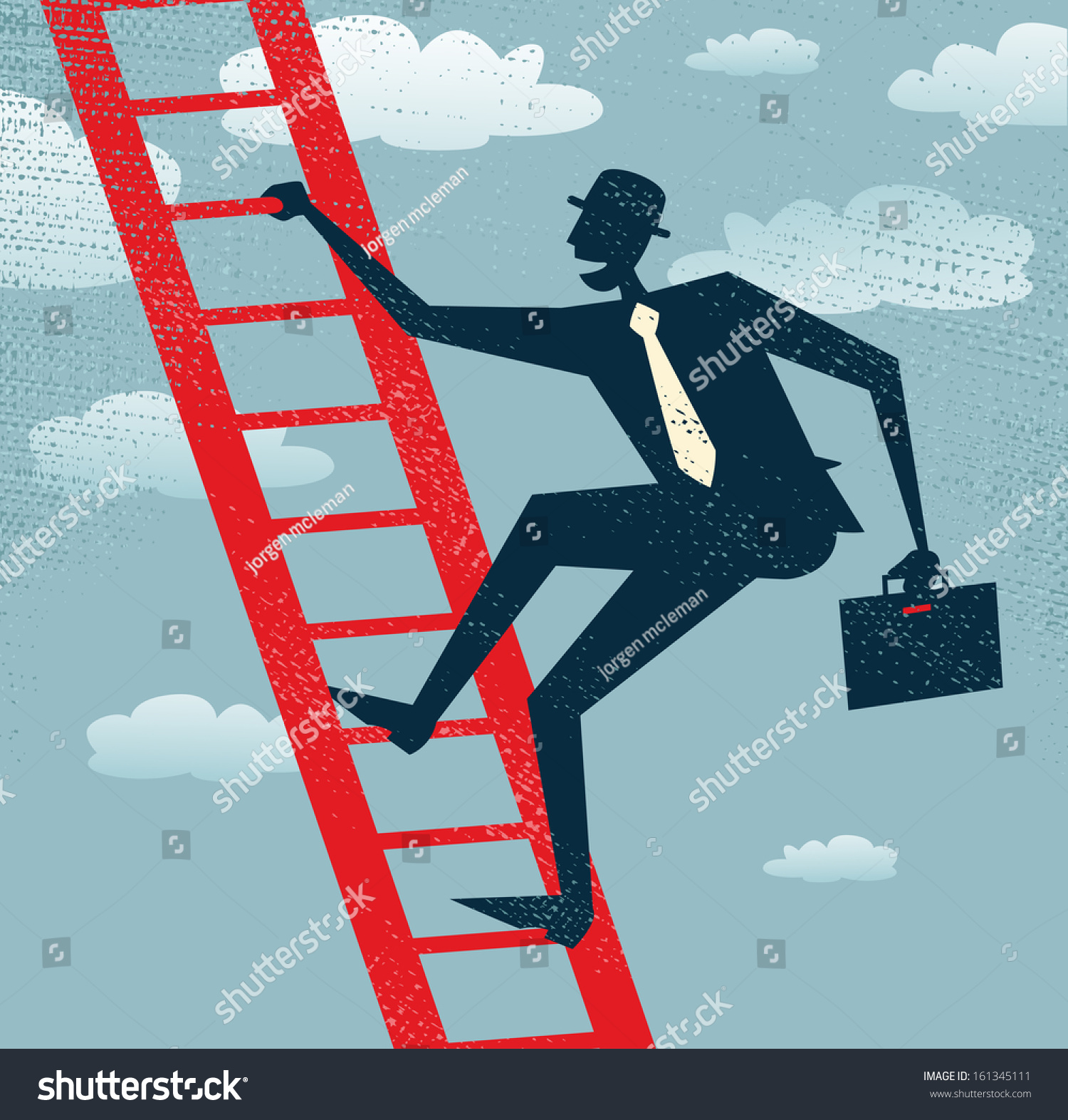abstract businessman climbs up the corporate ladder vector save to a lightbox
