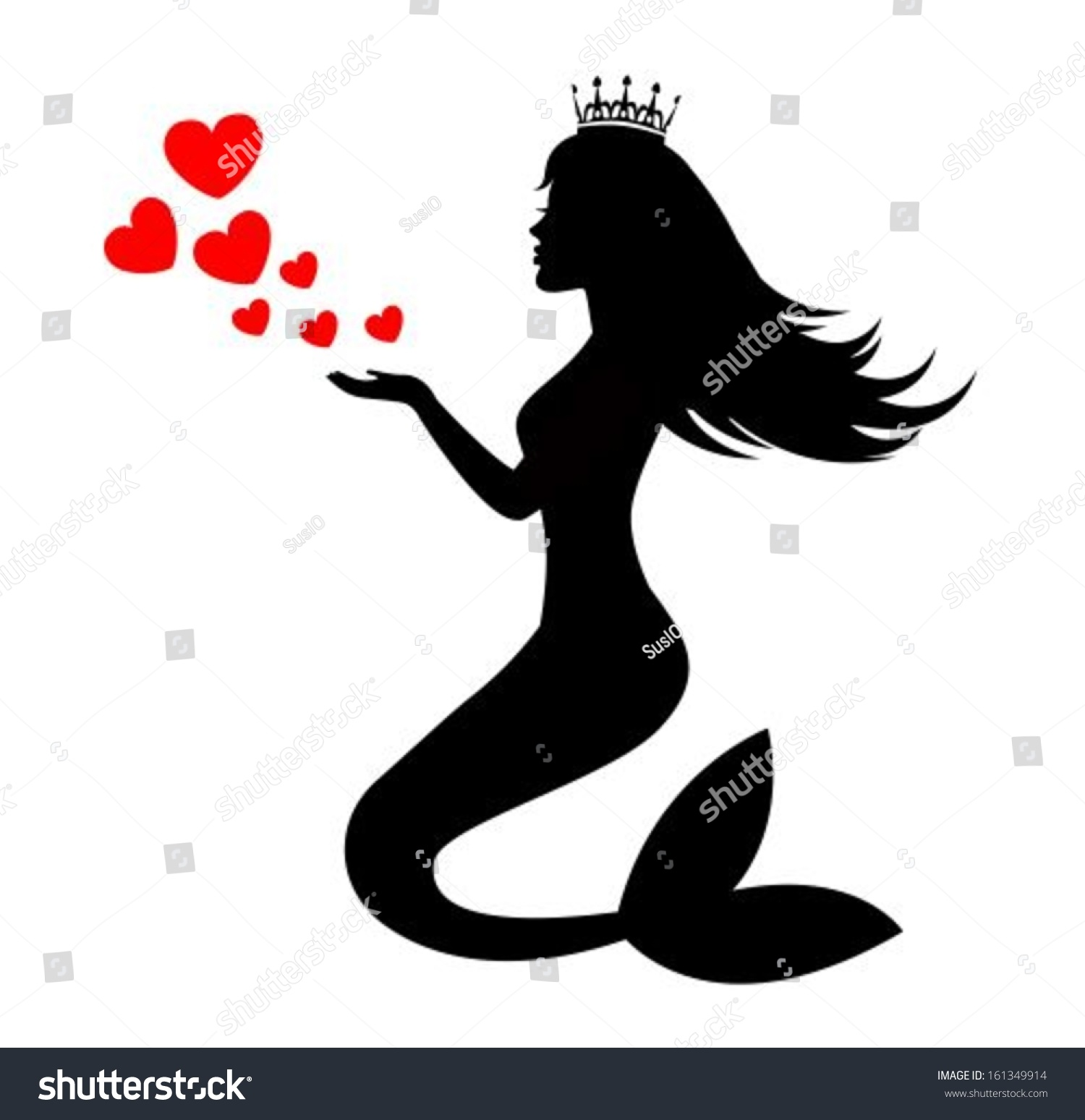 Hand painted mermaid watercolor vector silhouette stock vector -  Vectors Illustrations Footage Music Mermaid Silhouette Of A Crown With Hearts On A White Background
