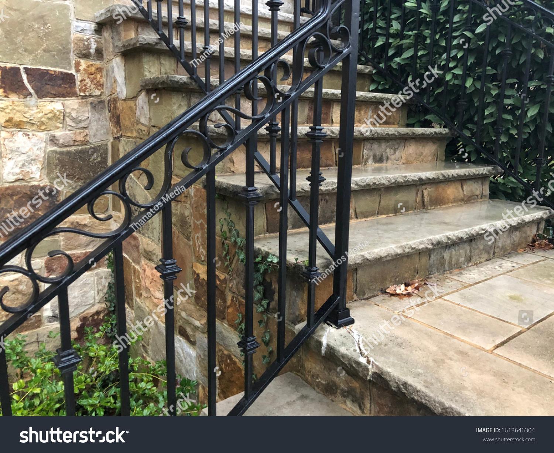 Wrought Iron Stair Rail Black Stock Photo Edit Now 1613646304
