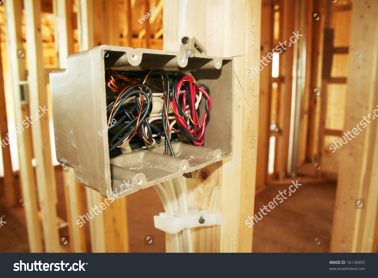 Electrical box with wiring in a new home under construction