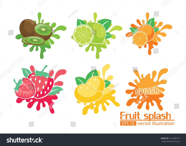 fruit splash illustrator vector stock vector 161369147