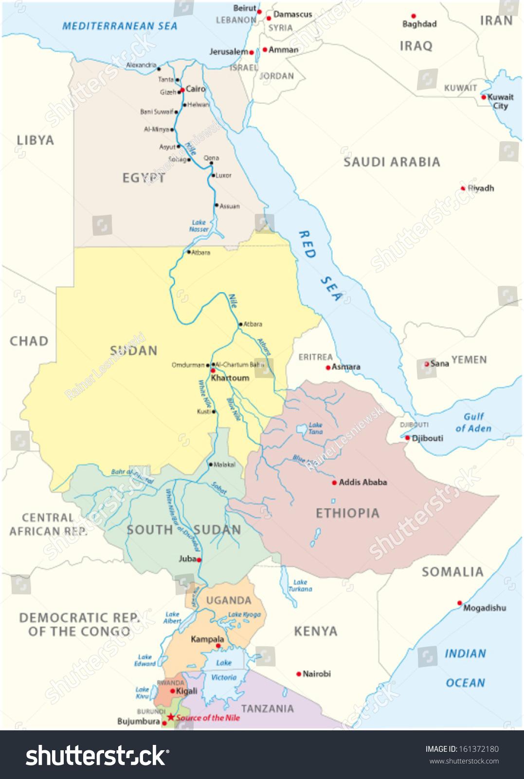 Nile River Map Stock Vector Shutterstock - Map of egypt nile